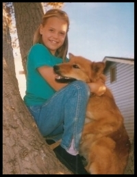 me and my little red dog in 1994