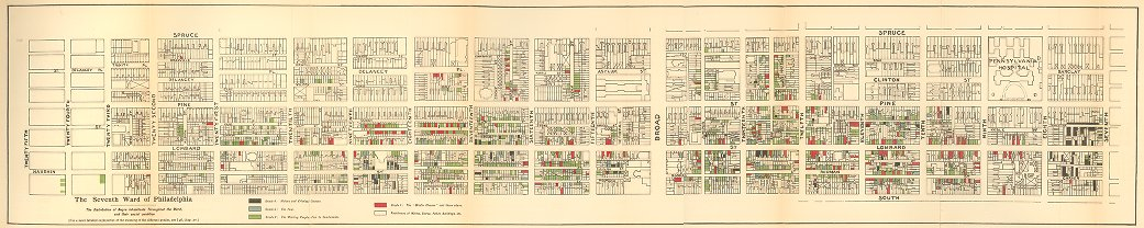 PHILADELPHIA'S 7TH WARD / HAND DRAWN MAP BY W E B DUBOIS