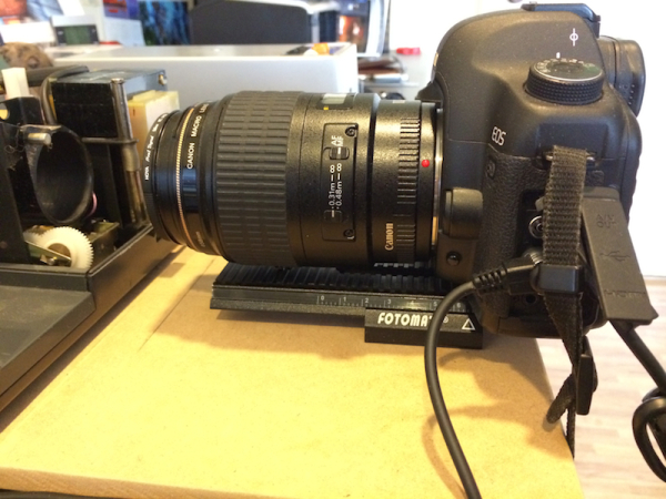 For fine adjustment, the camera is mounted on a $20 Fotomate macro rail (eBay) on a baseboard.