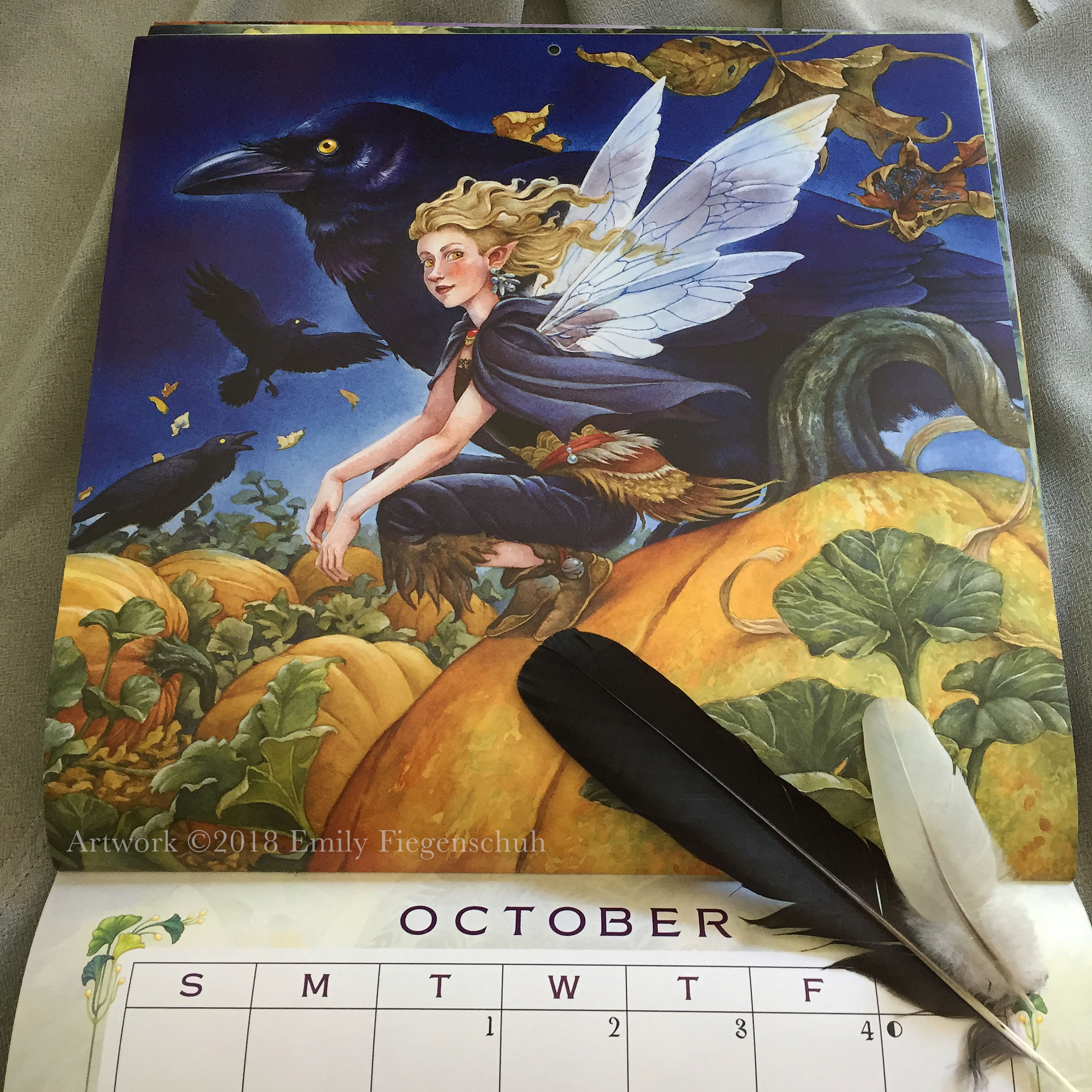"""""""Autumn Shadows,"""" my painting for the month of October in Llewellyn's 2019 Magical Faery Calendar."""