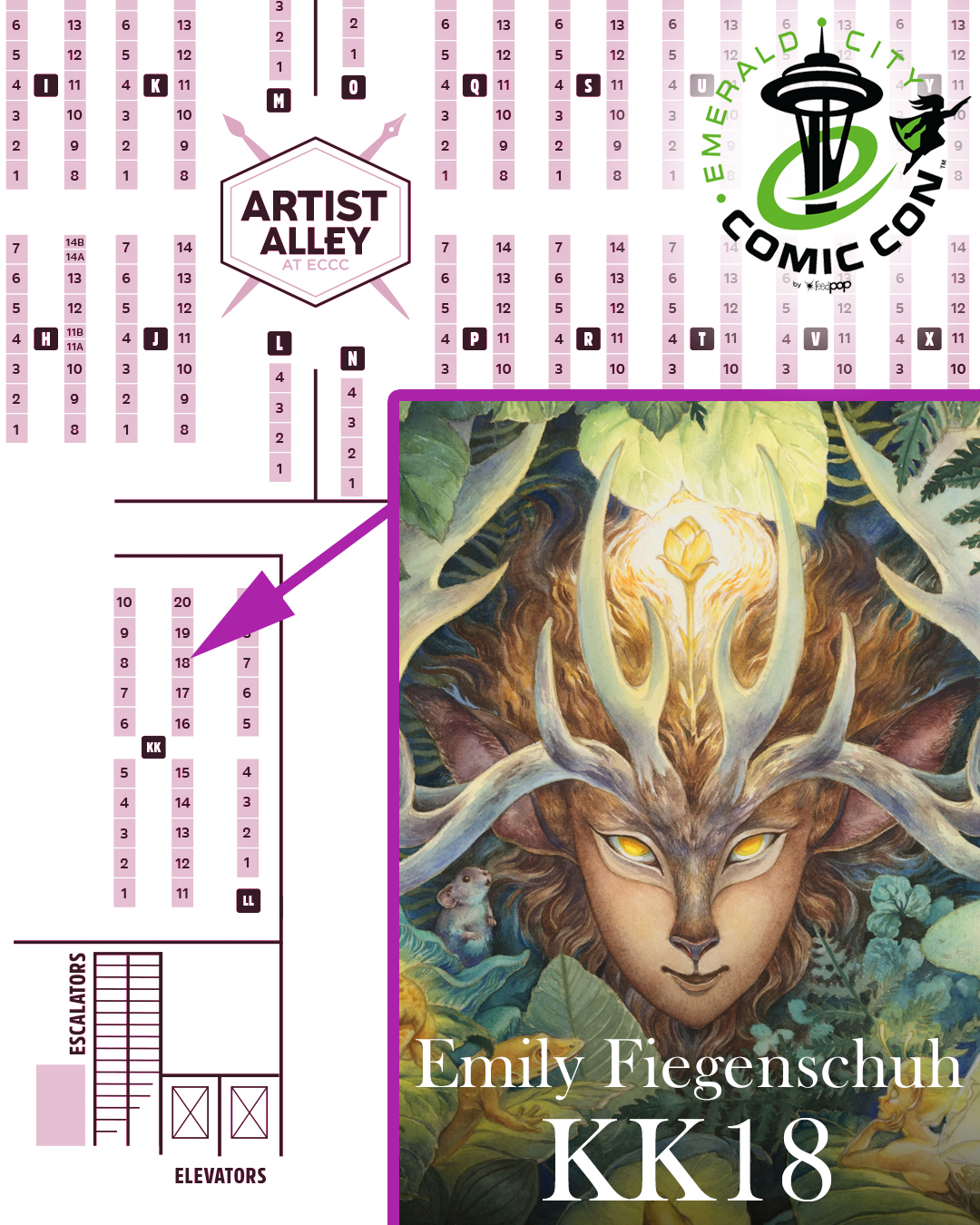 A map of ECCC 2019's Artist Alley. I will be at booth KK18!