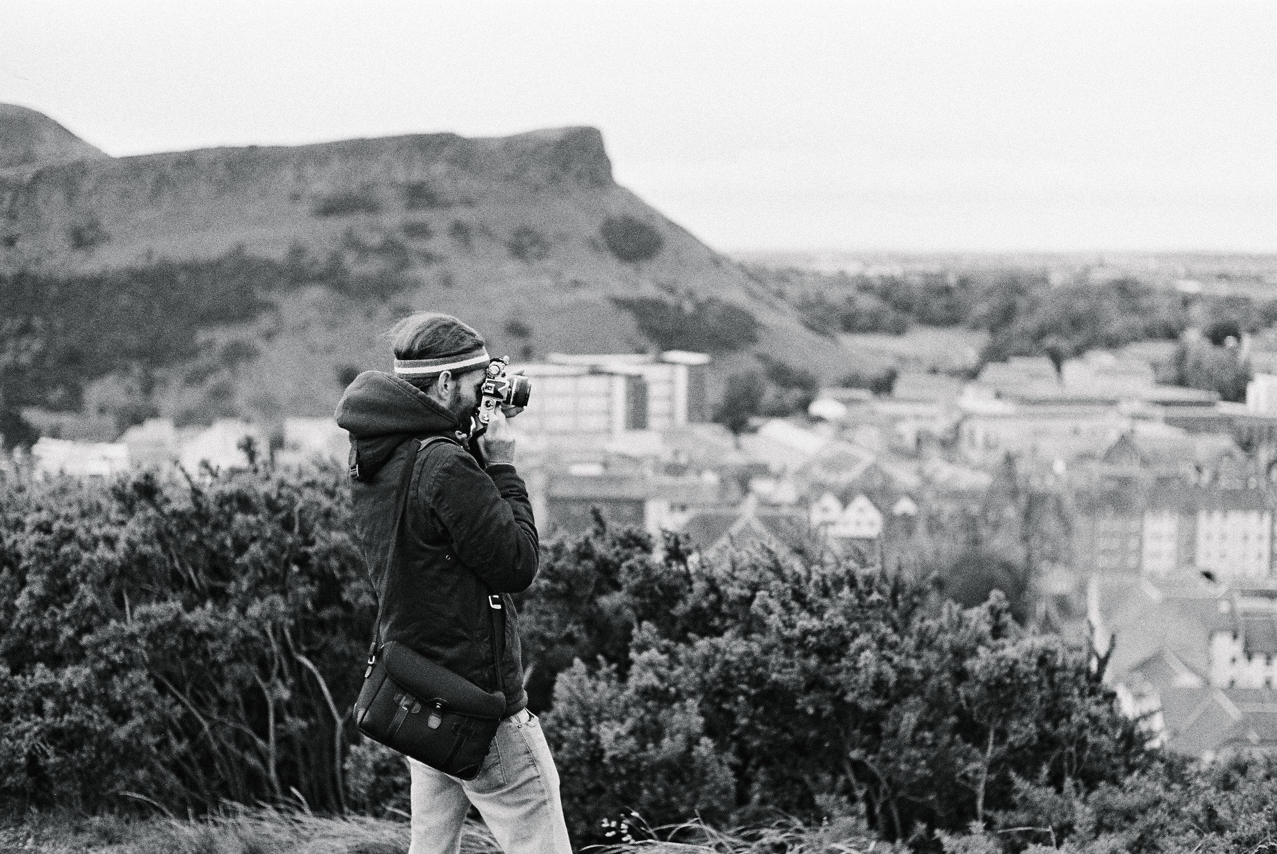 Ryan on Calton Hill.Kodak black and white film, Leica M3