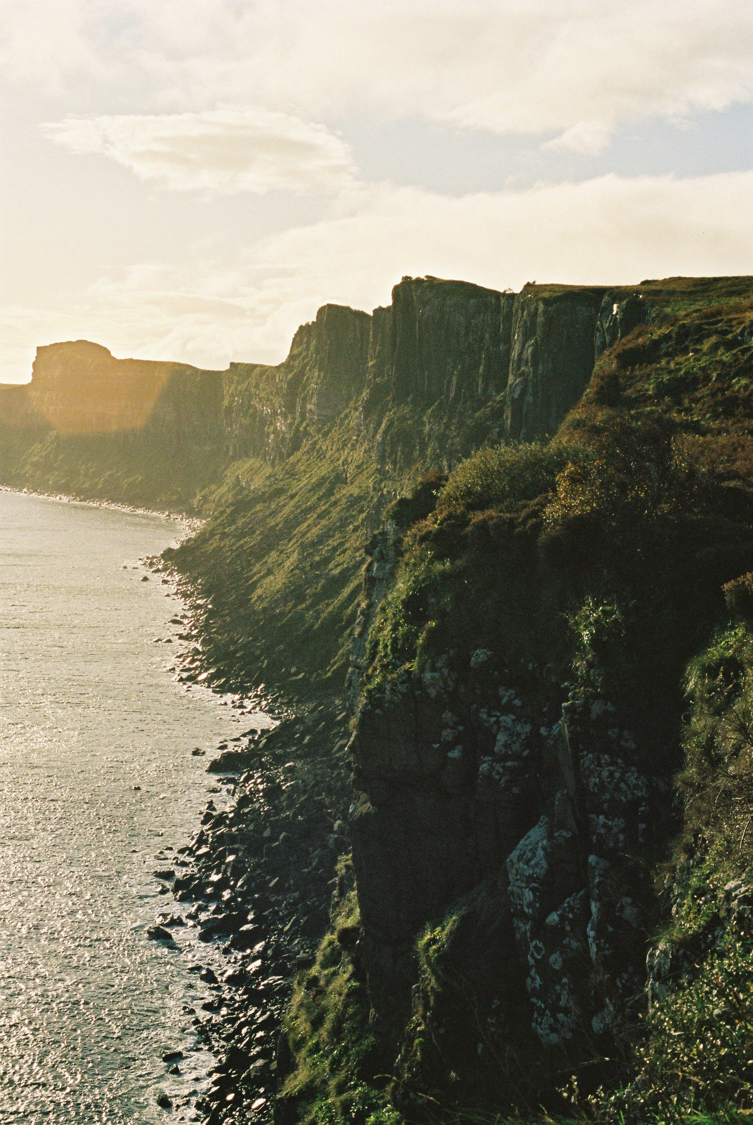Cliffs at Mealt Falls.Kodak color film, Olympus OM2
