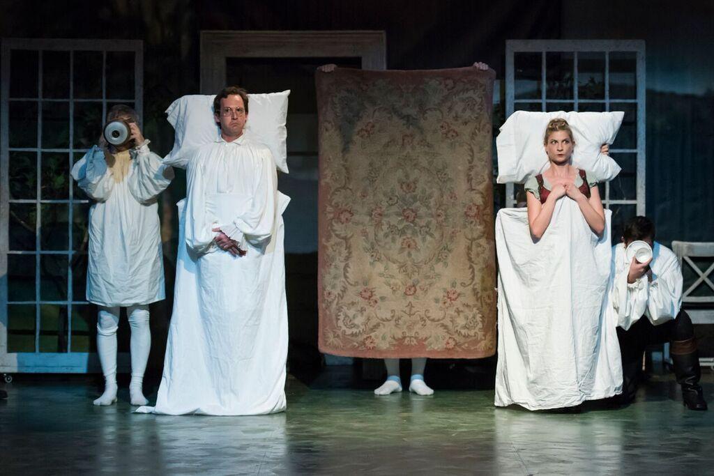 John Russell as John Dashwood and Laura Baranik as Fanny Dashwood in Bedlam's acclaimed  Sense and Sensibility .