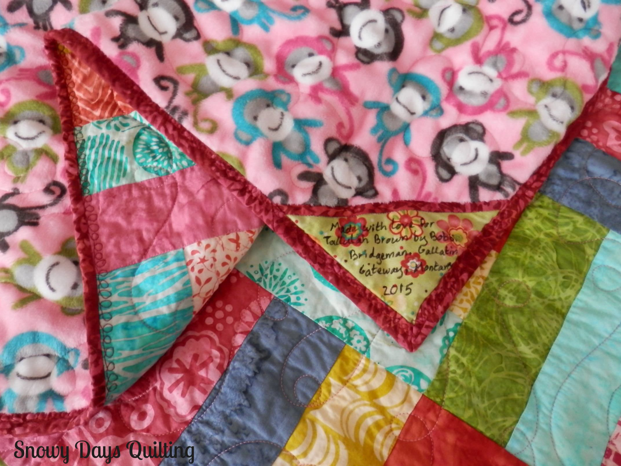 jelly roll rail fence baby quilt