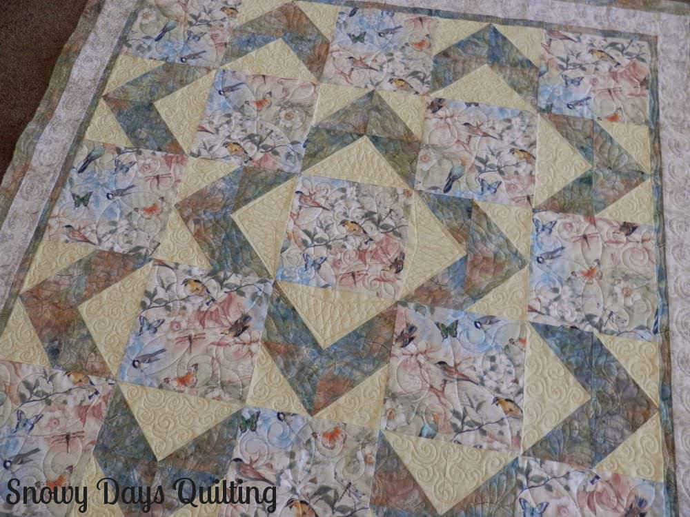 bird quilt large scale print focus fabric