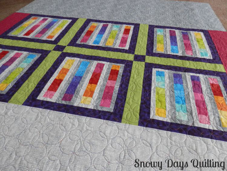 Roller Rink quilt back Bubbles quilting