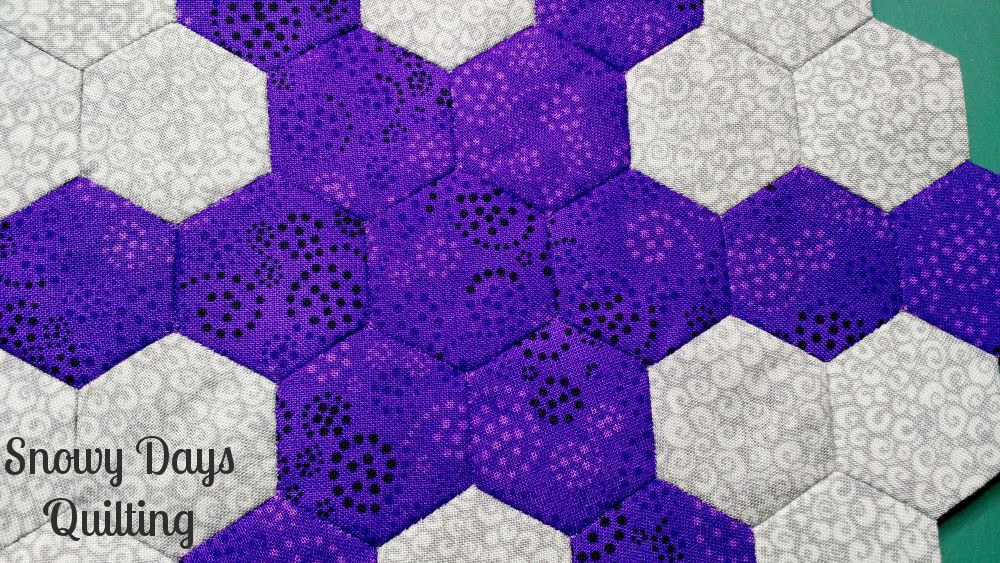 close-up of epp hexies with matching thread