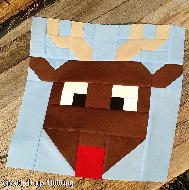 Reindeer Games quilt block