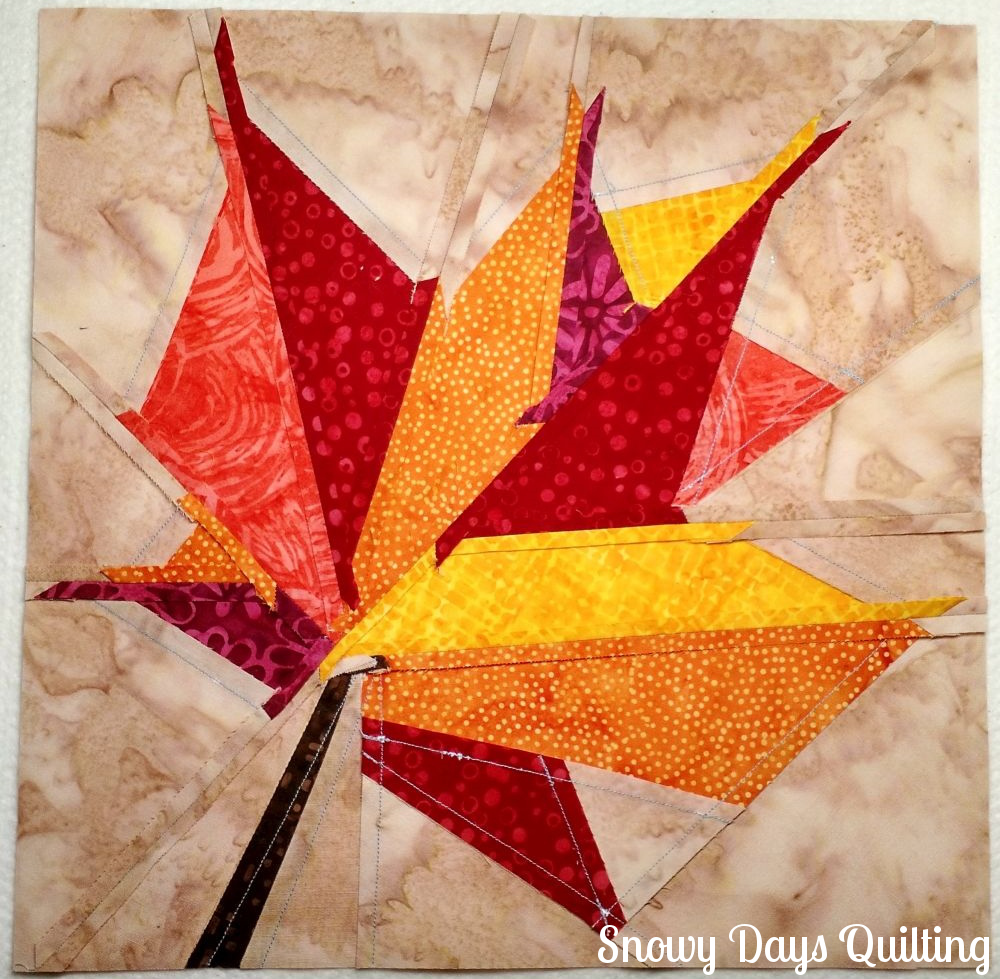 back of autumn leaf quilt block