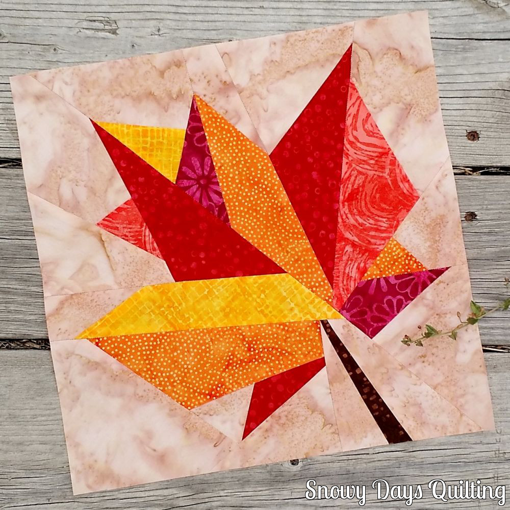 paper pieced autumn leaf
