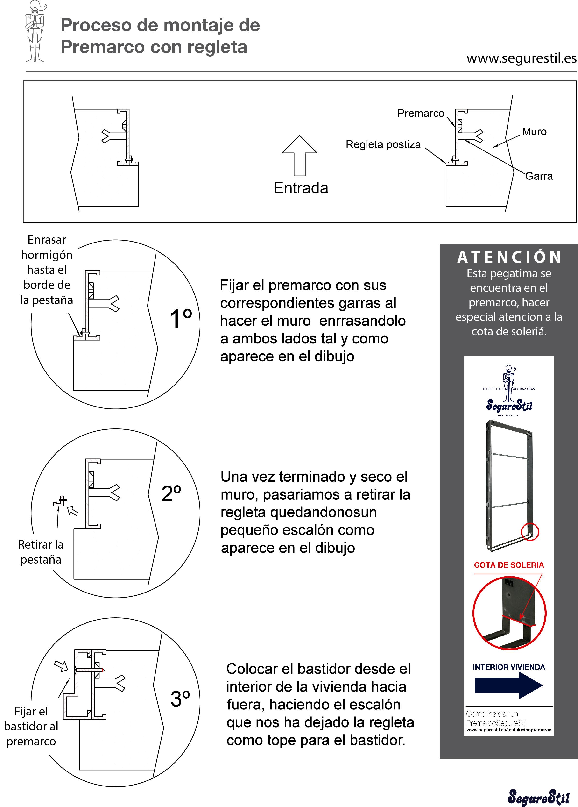 Instalacion premarco Segurestil, con regleta