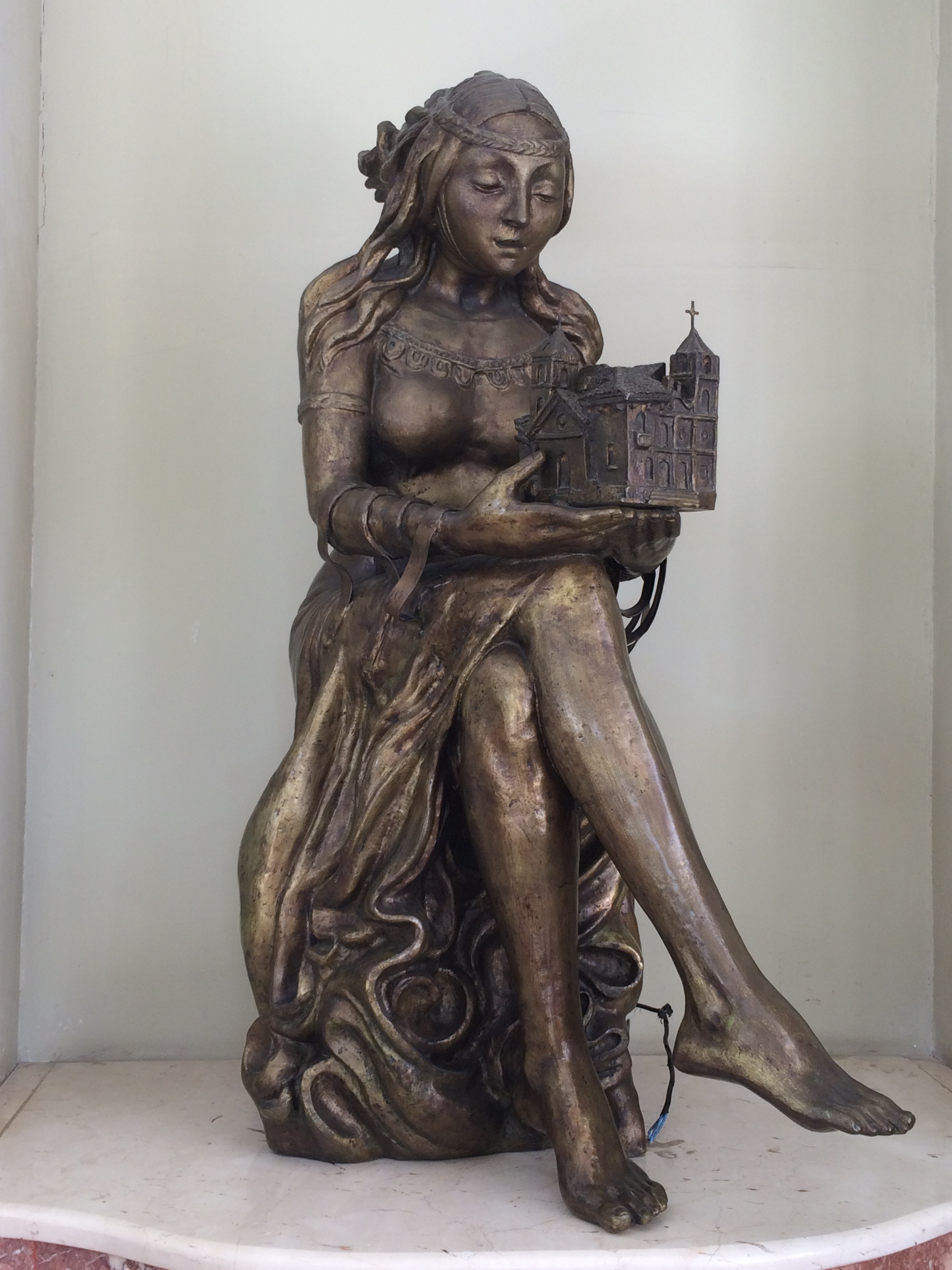 """There was one of Jiménez's sculptures in our hotel lobby, """"Santa Maria,"""" and we saw many other works by her around town."""