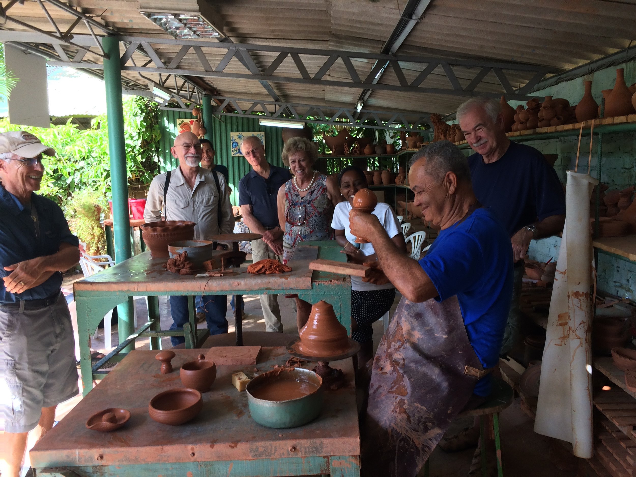 Patriarch of the Casanova family of painters and potters, demonstrating his work on the wheel. Their home/studio has a courtyard chapel open to the community. Our host gave a little homily on the importance of love.
