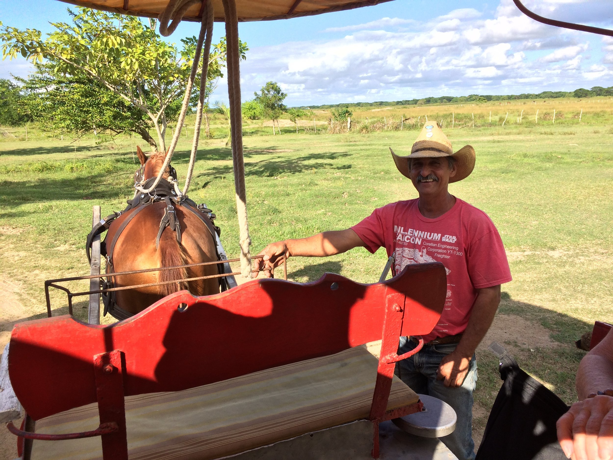 Jorge drove our conveyance at the King Ranch wearing a Millennium Falcon t-shirt