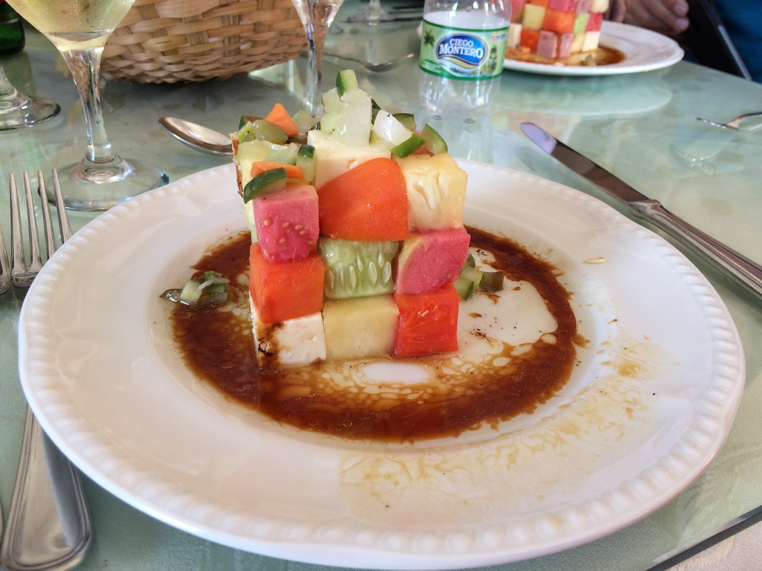 Rubik's cube of cucumber, watermelon, and cheese