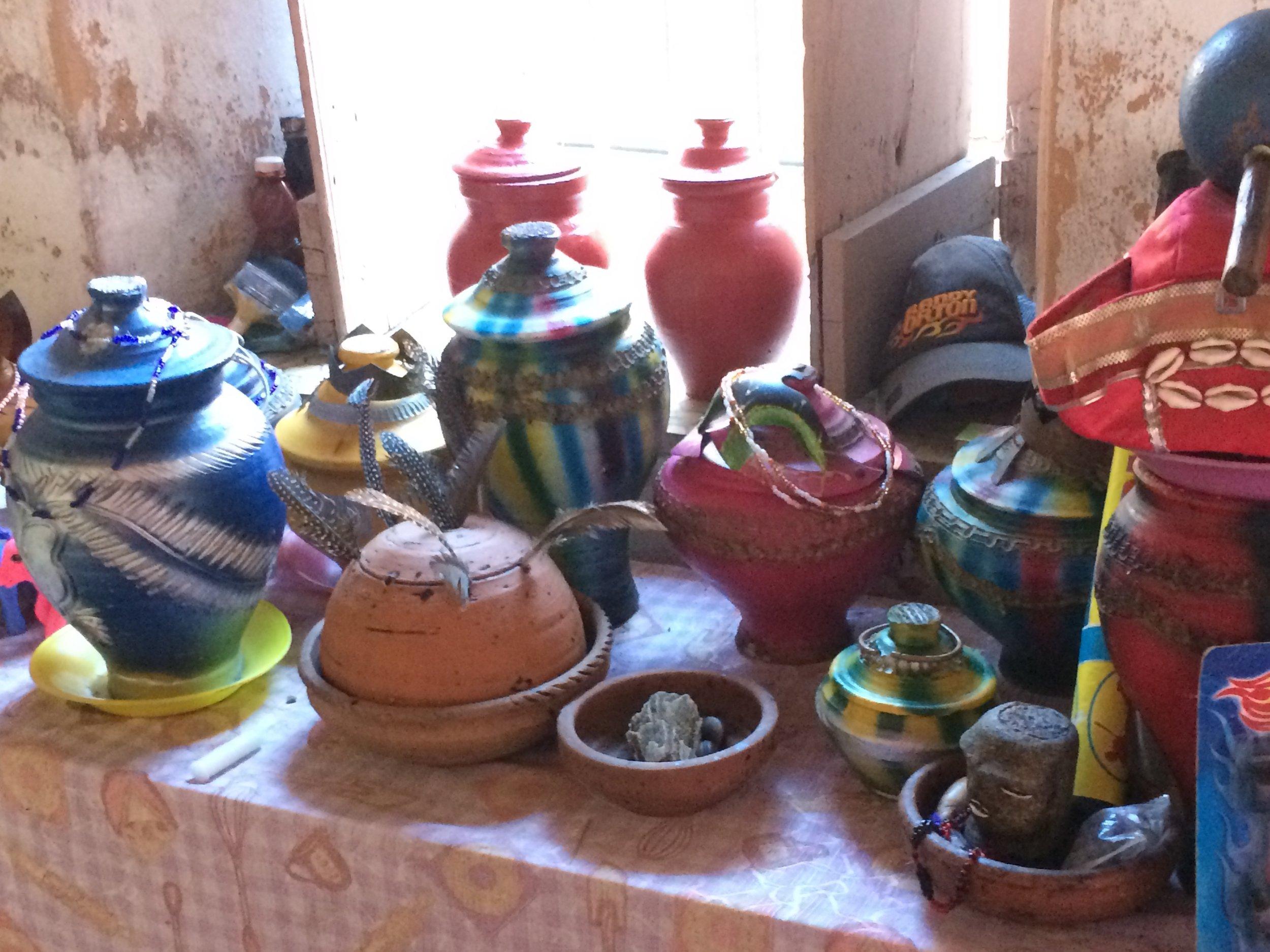 We visited the home of a Santería priestess. Urns, perhaps