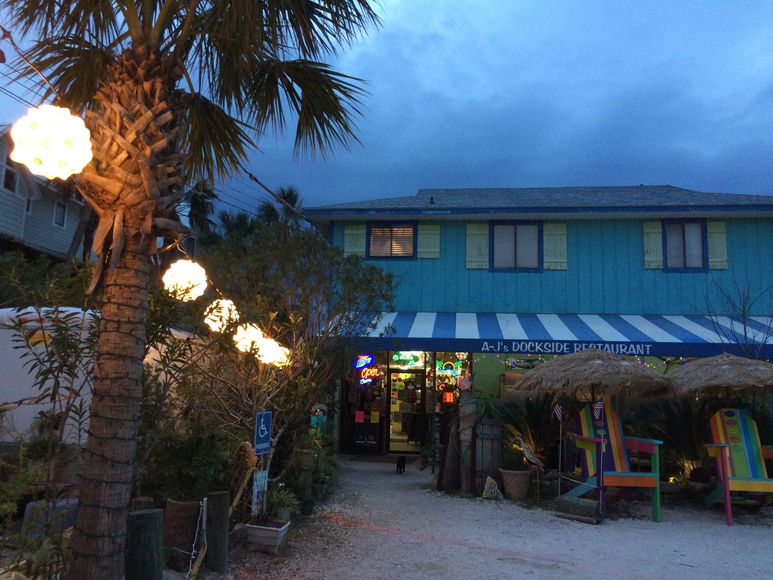 Entrance to A-J's Dockside Restaurant on Tybee Island