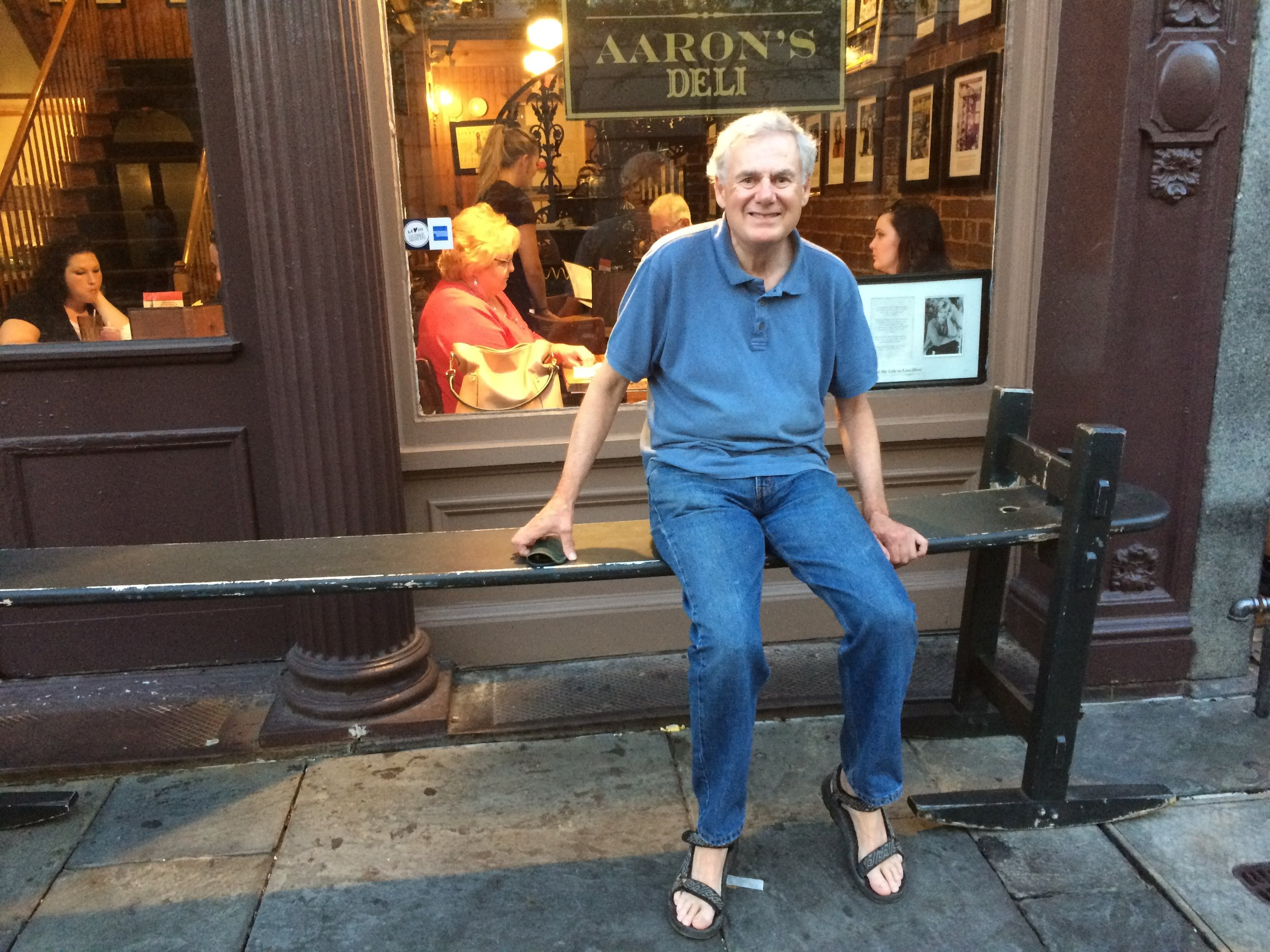"""Trying out the """"joggling board"""" in front of Hyman's Seafood"""