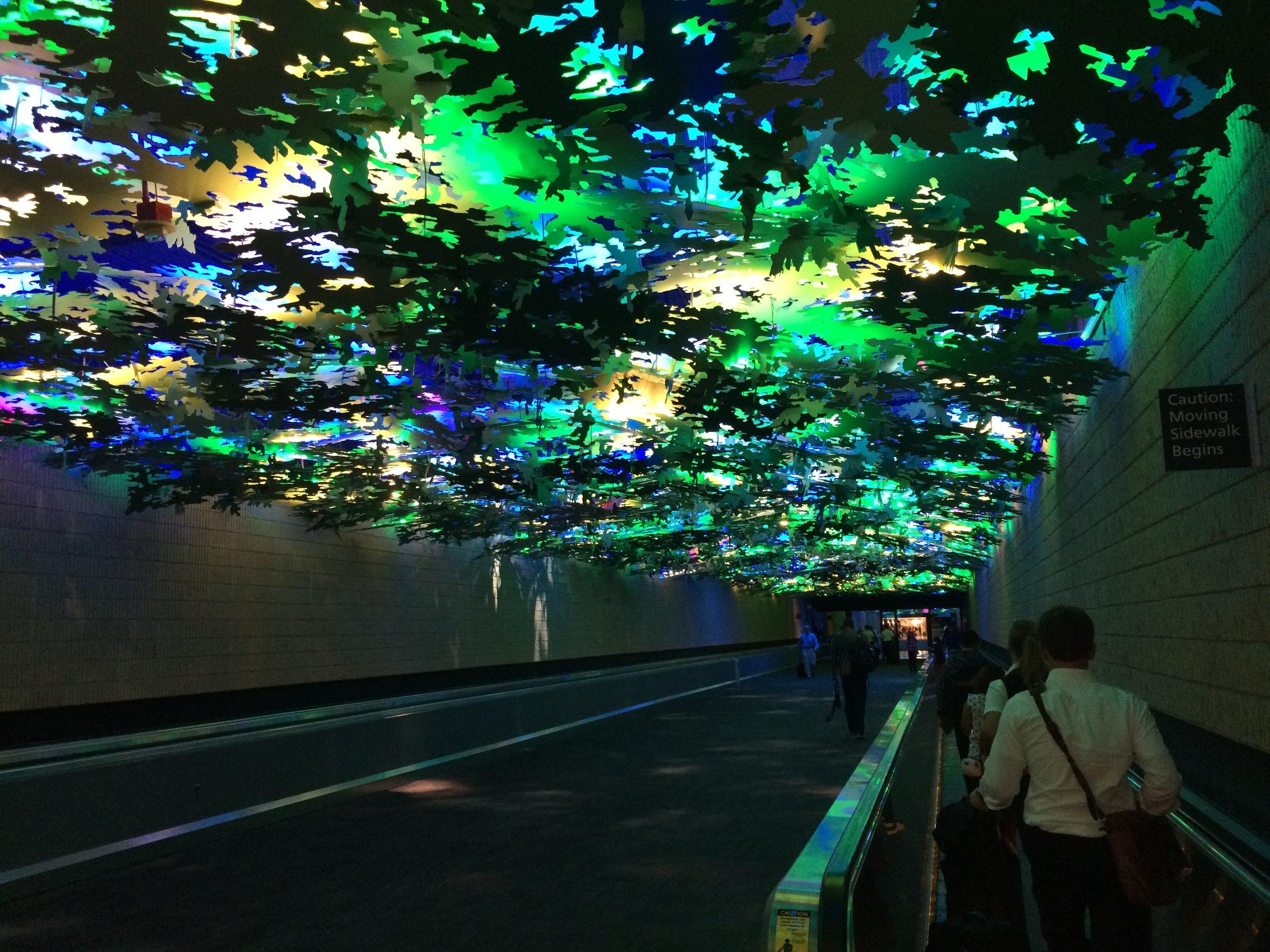 Art installation over people mover at Hartfield-Jackson Atlanta Airport