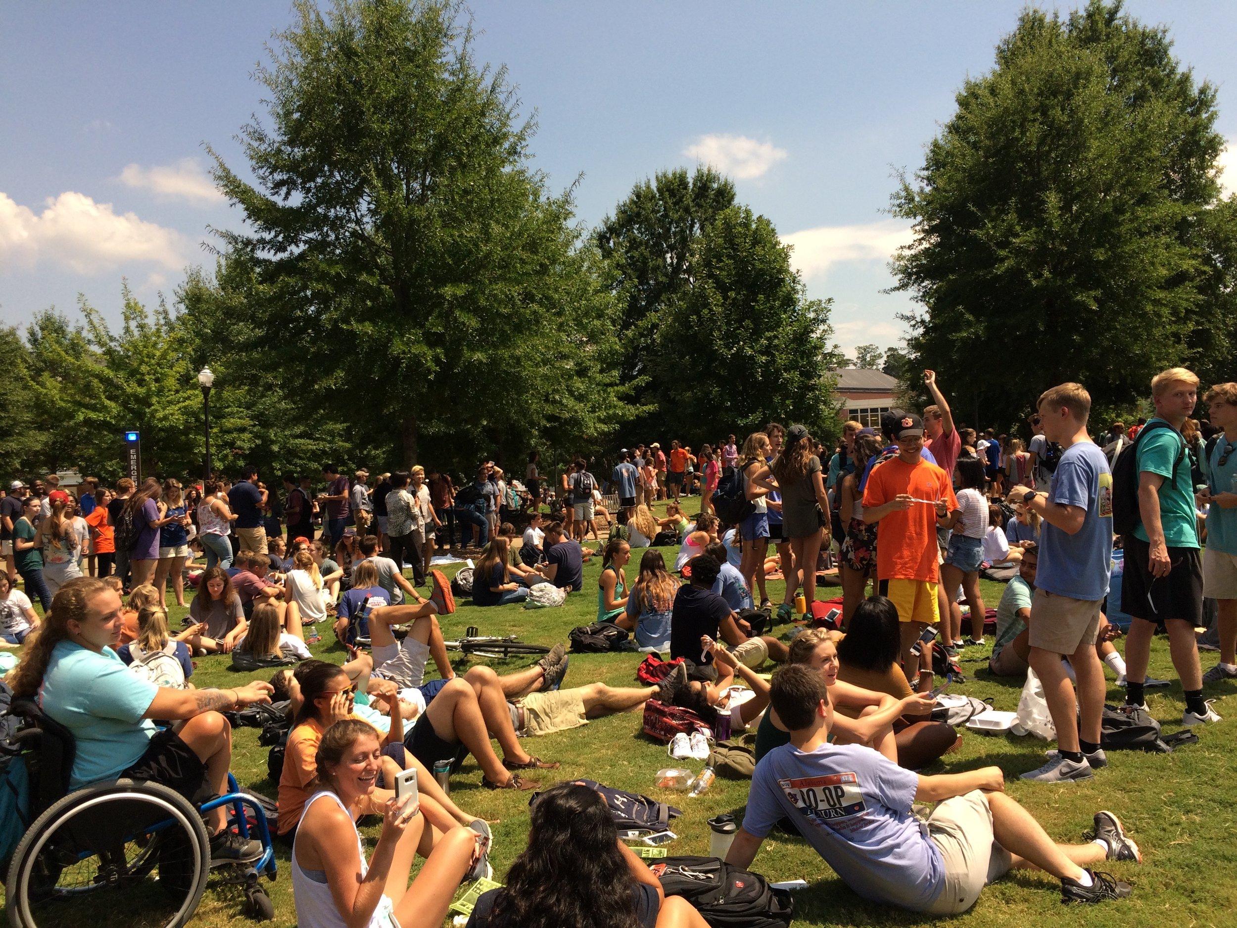 Solar eclipse on the Green at Auburn University, August 21st