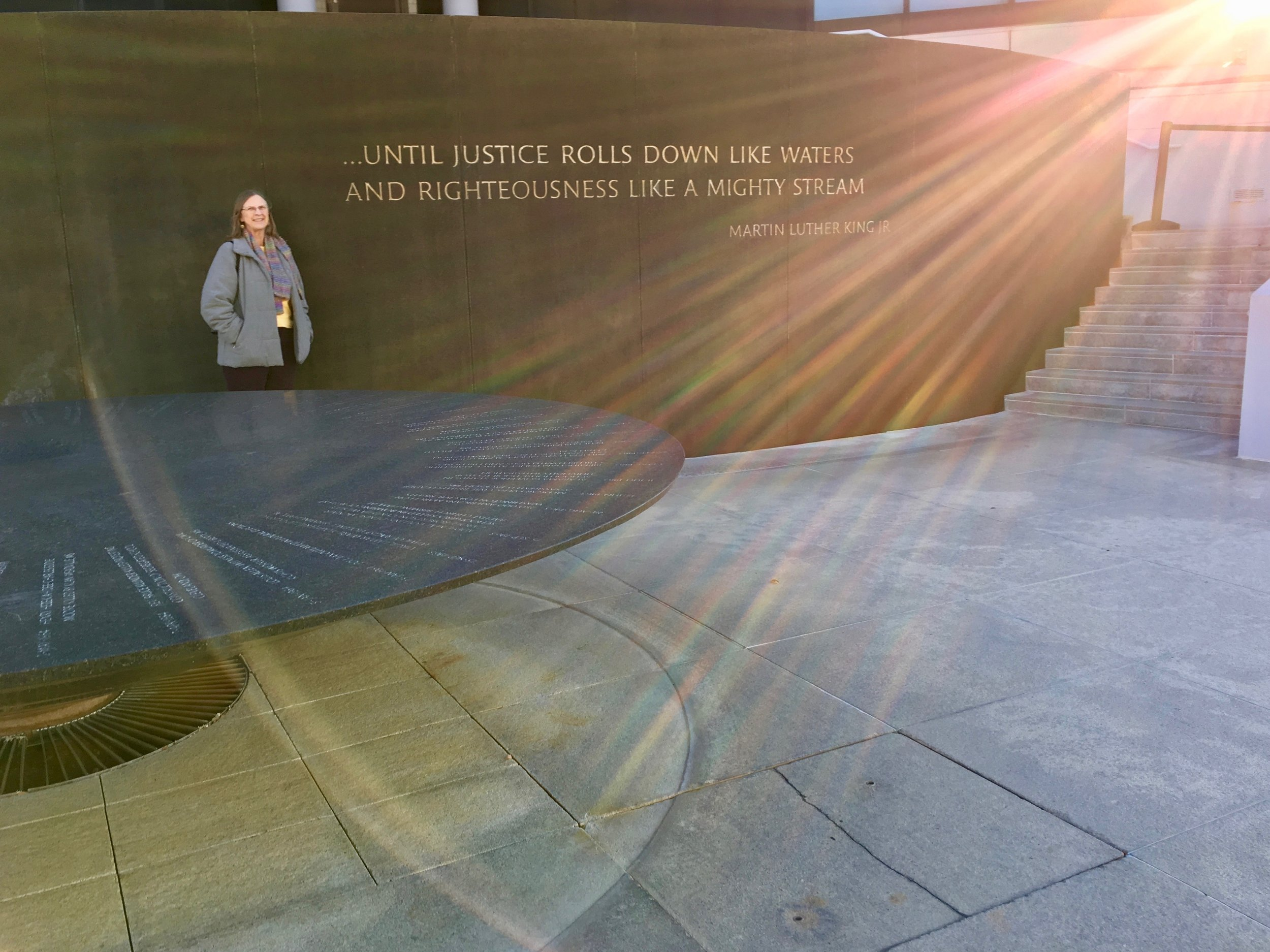Montgomery, Civil Rights Memorial by Maya Lin—it was so cold, they had had to turn the fountain off.