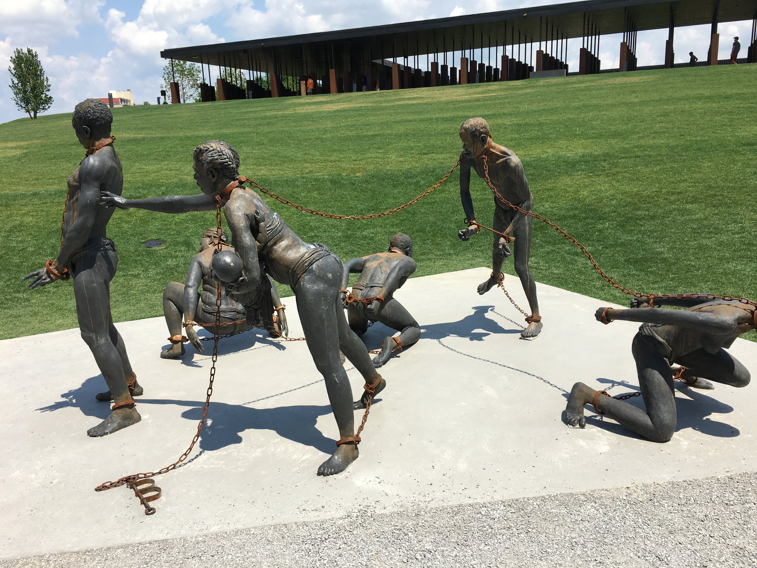 As we walked up to the Memorial, we found this sculpture representing family separation disturbingly relevant to current events.