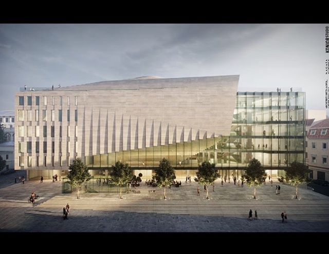 The rendering of the outside of the new Brno concert hall! Exciting!