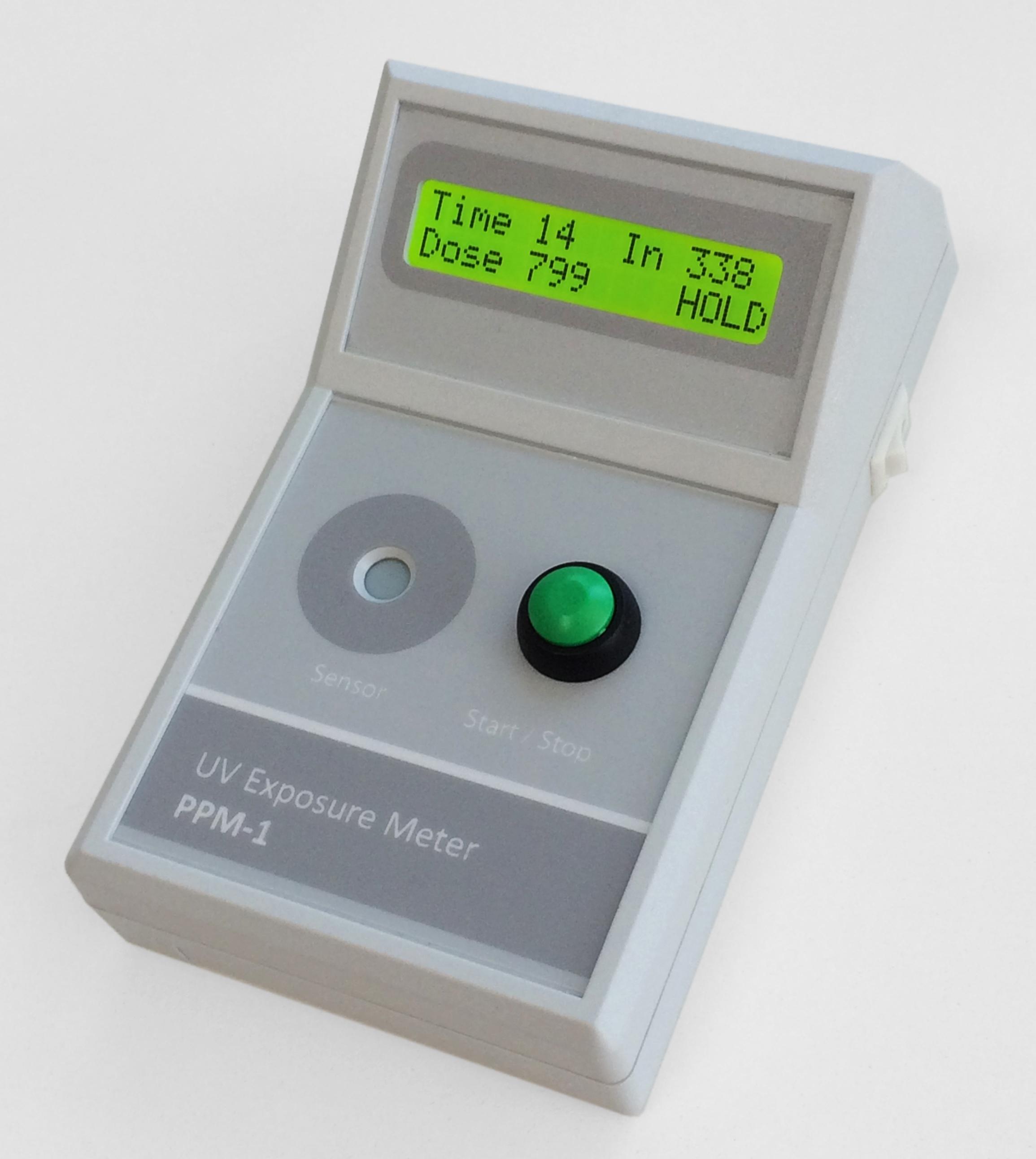 The PPM-1 handheld UV exposure dose meter.