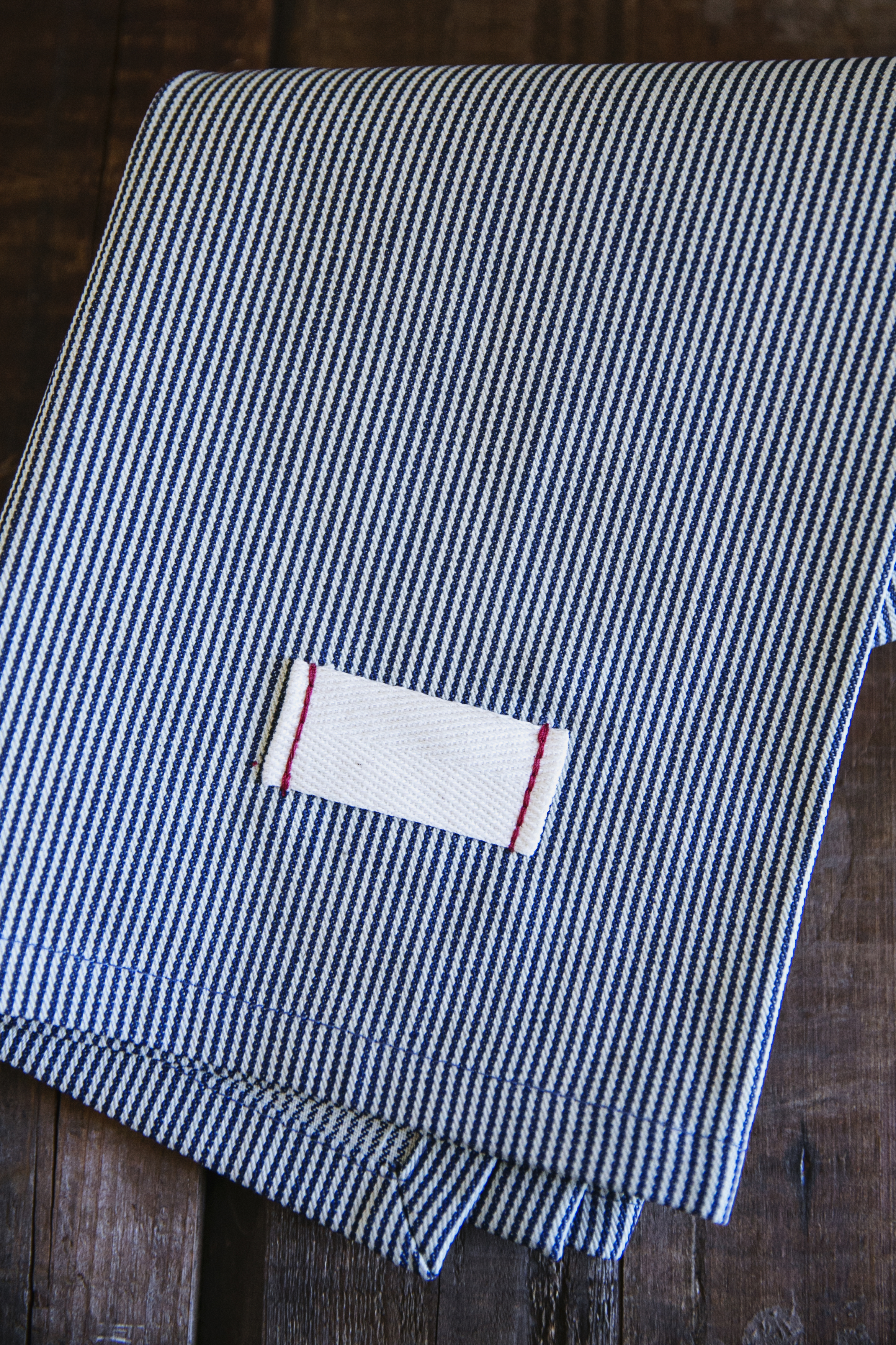 railroad striped tea towel