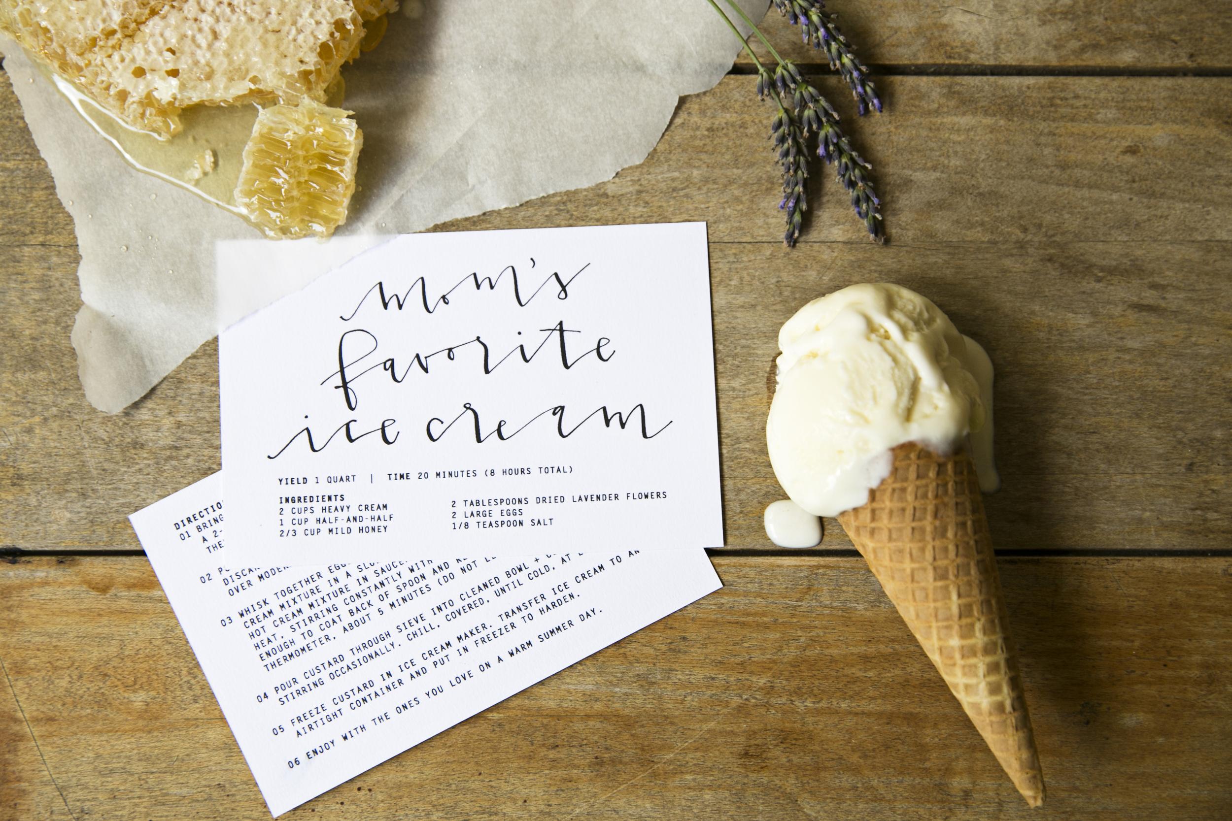 ice cream recipe card