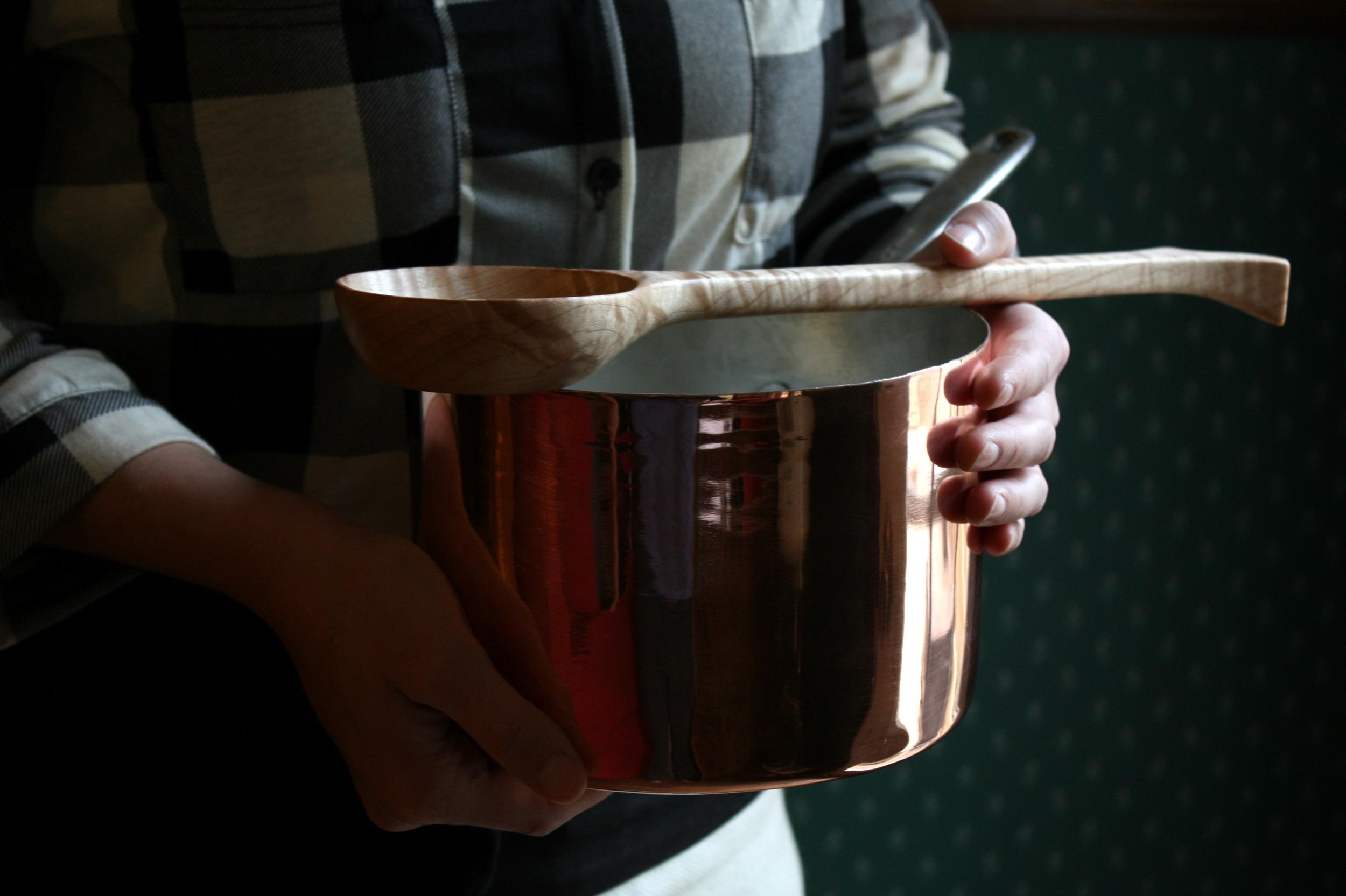 copper spoons linen
