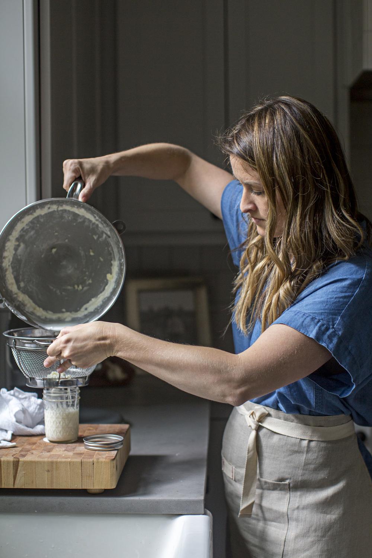 straining buttermilk