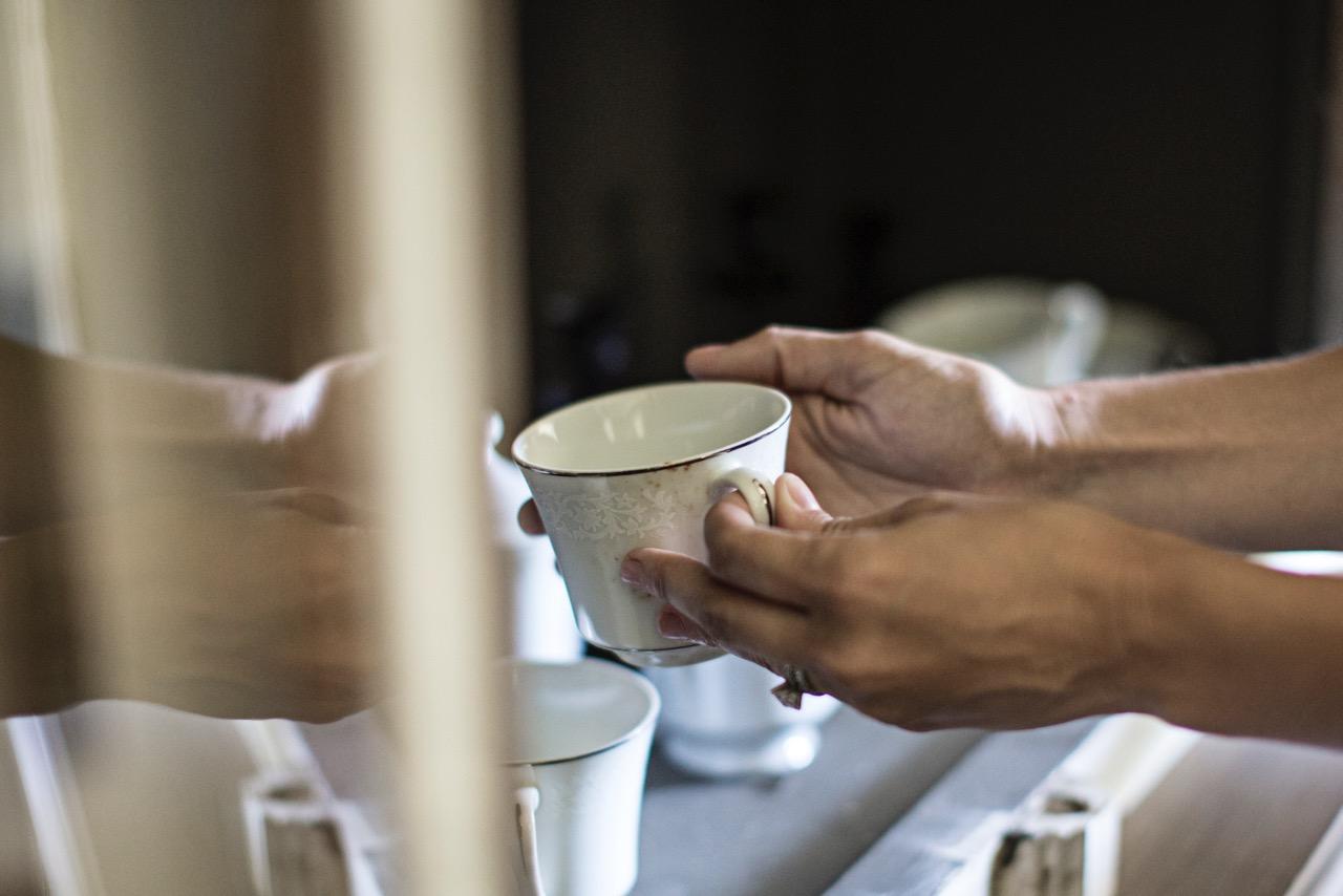 grandmas white wedding china teacup