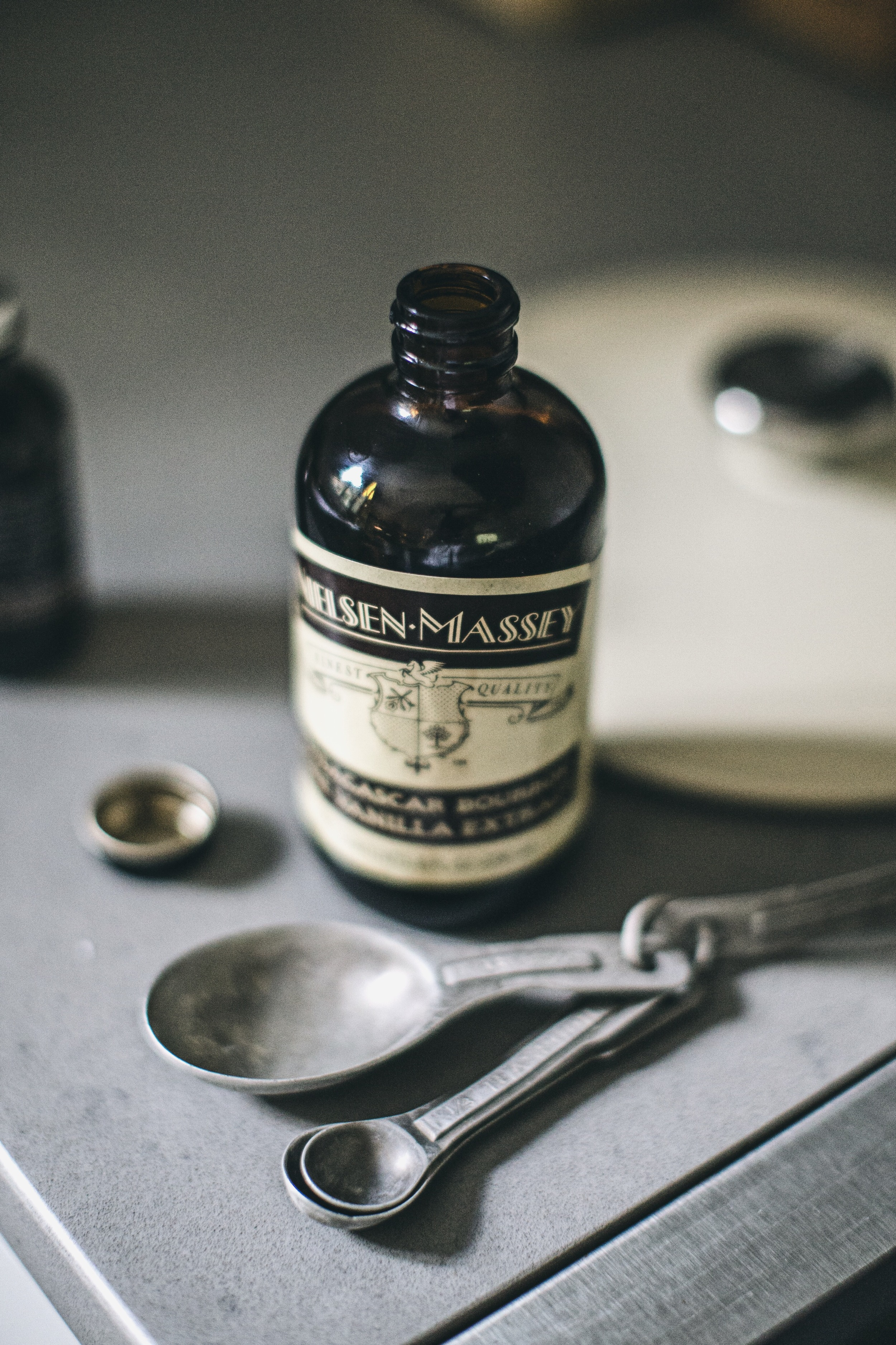 vanilla extract and vintage teaspoons
