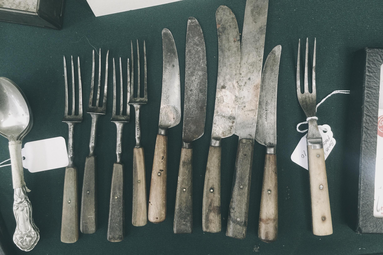 vintage wooden handle utensils