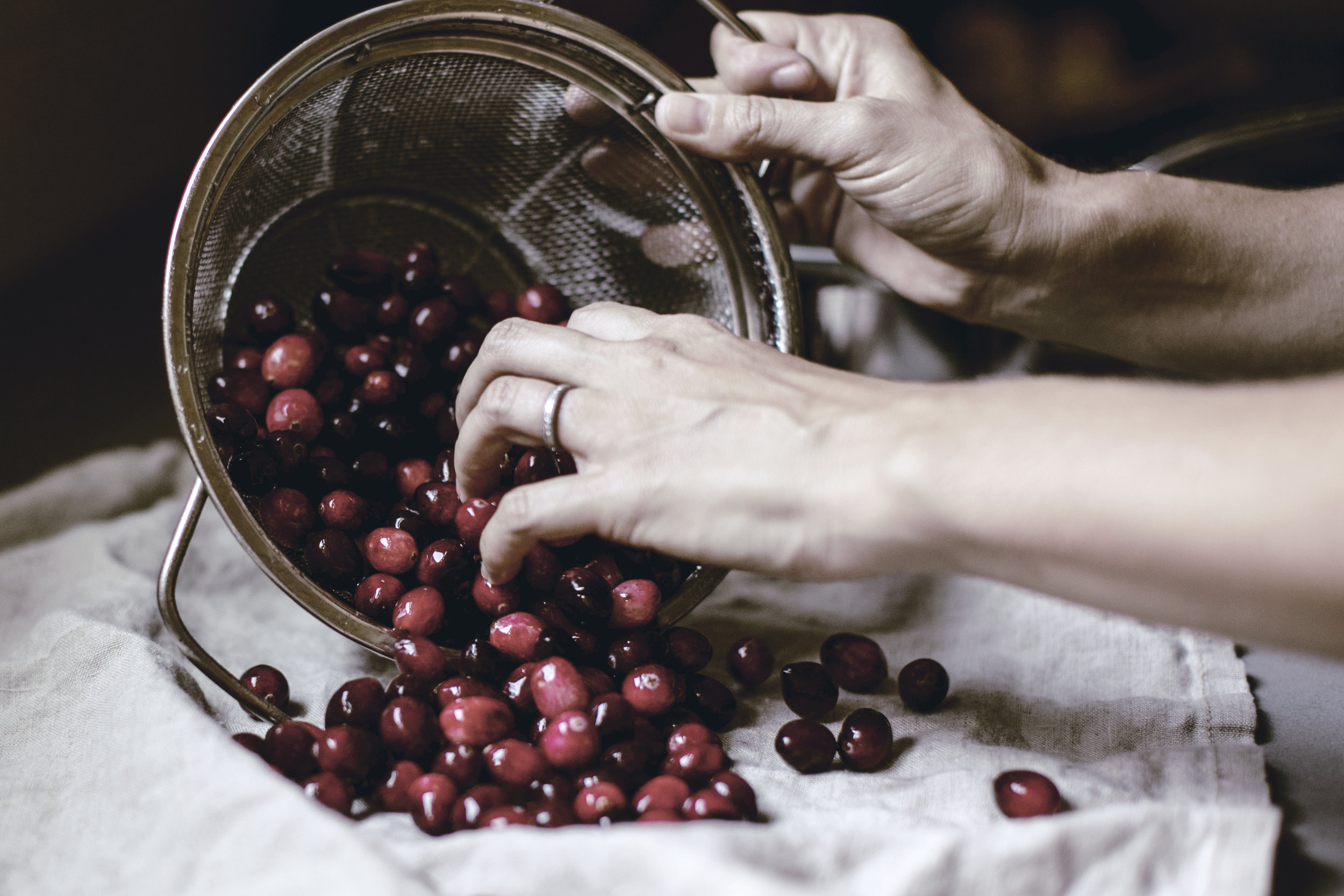 drying fresh cranberries