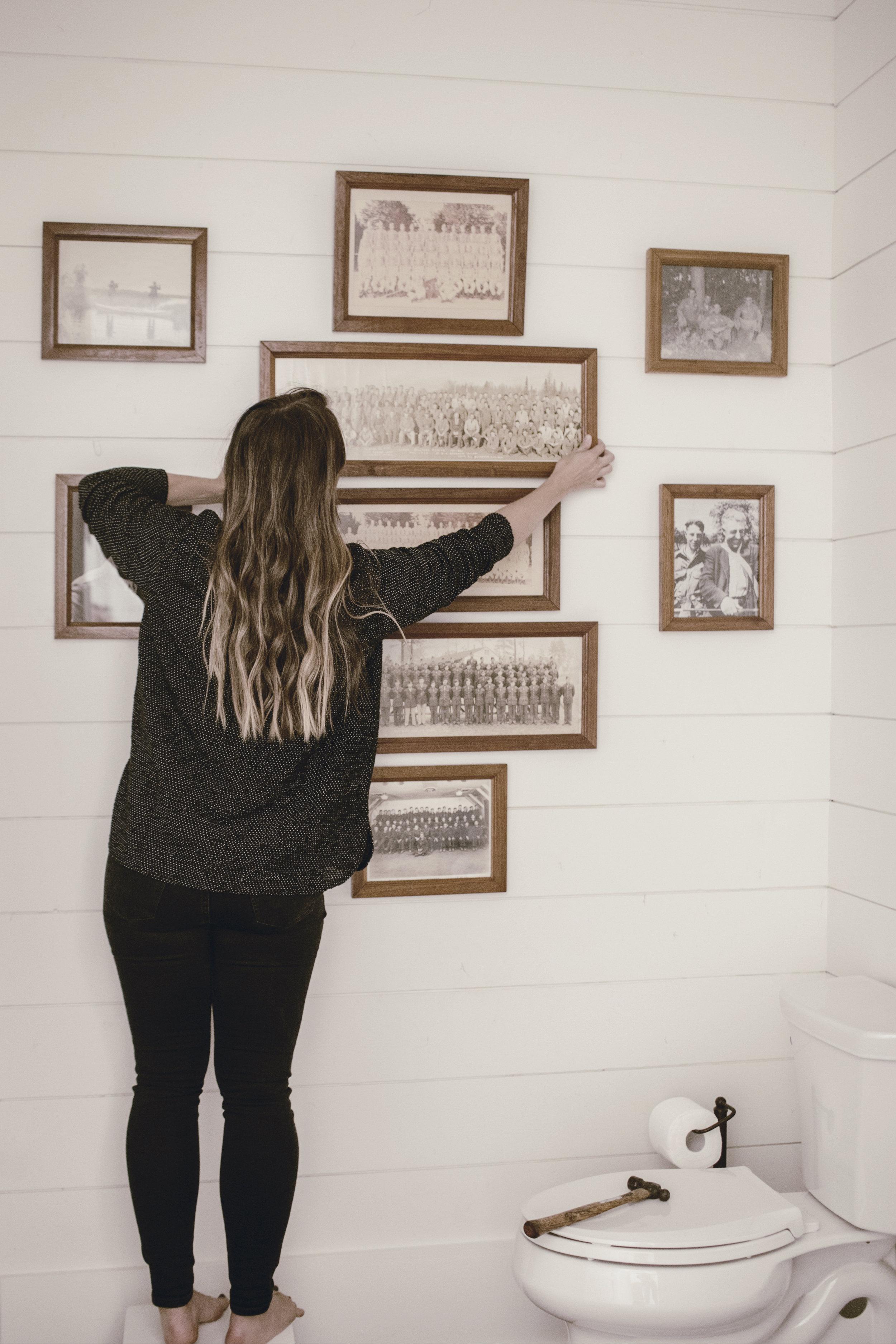 hanging family photos