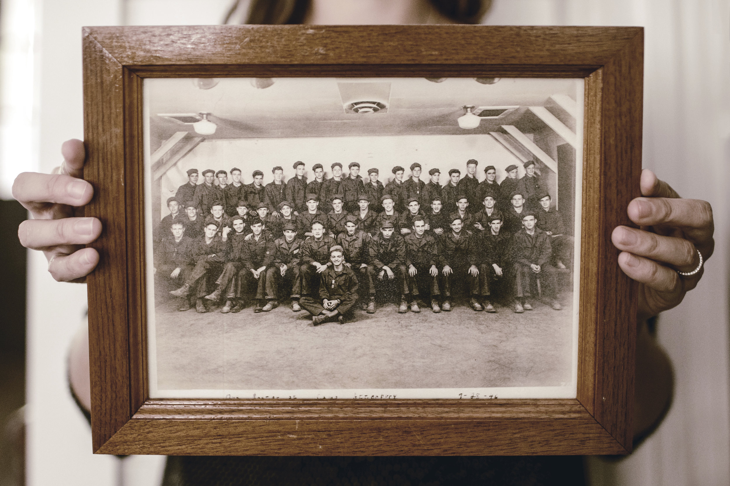 displaying black and white family photos