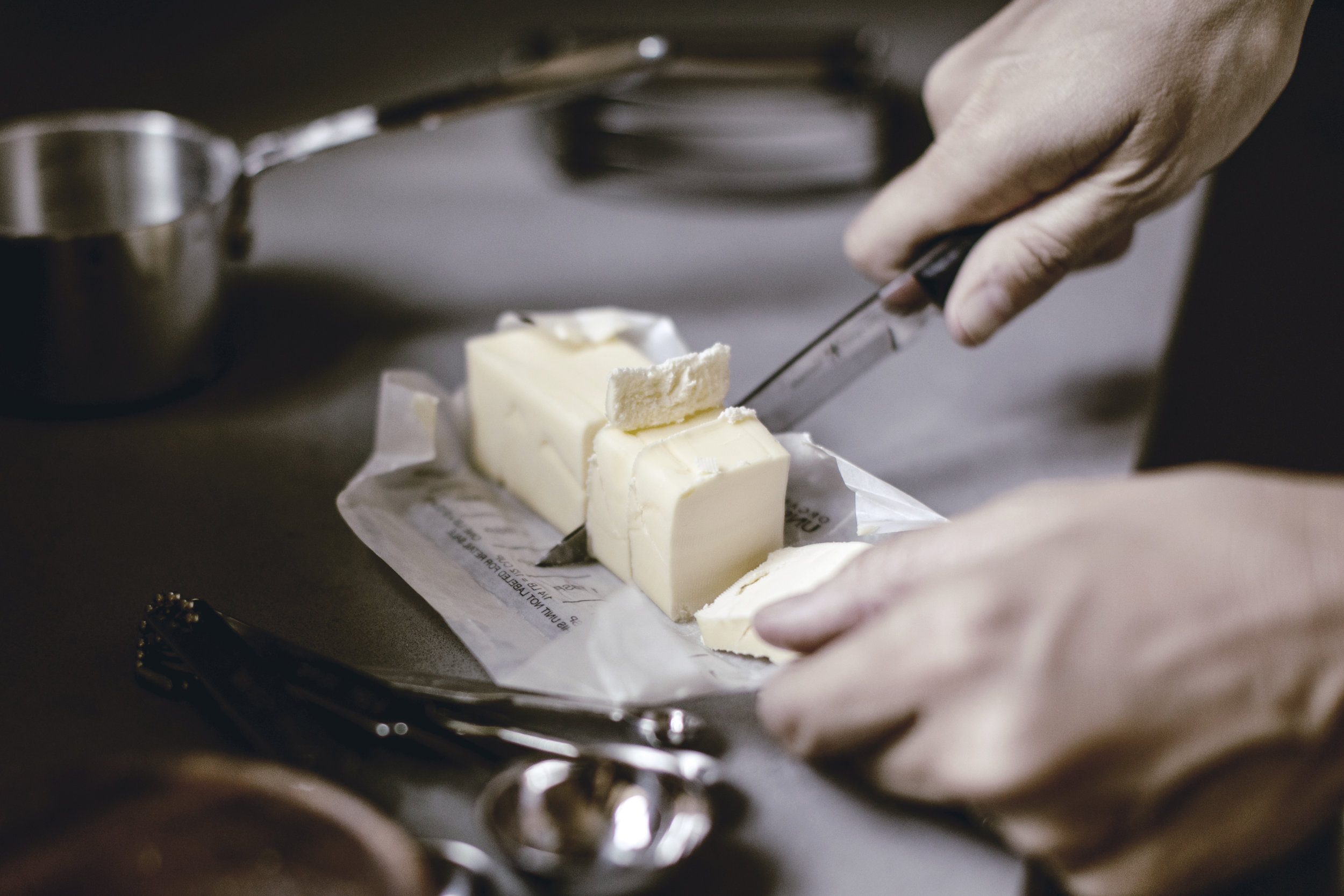 cutting a stick of butter / heirloomed