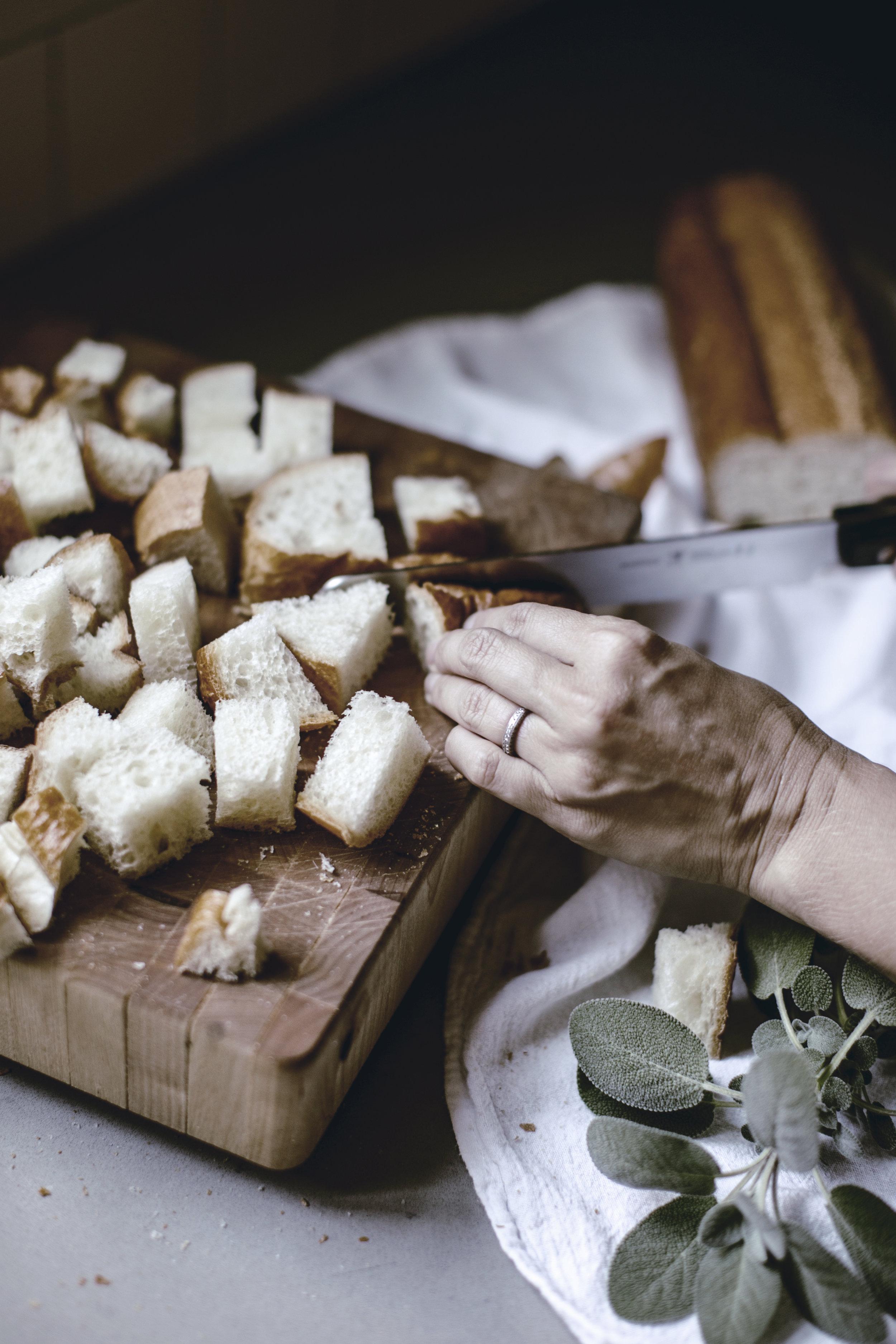 Preparing Thanksgiving stuffing