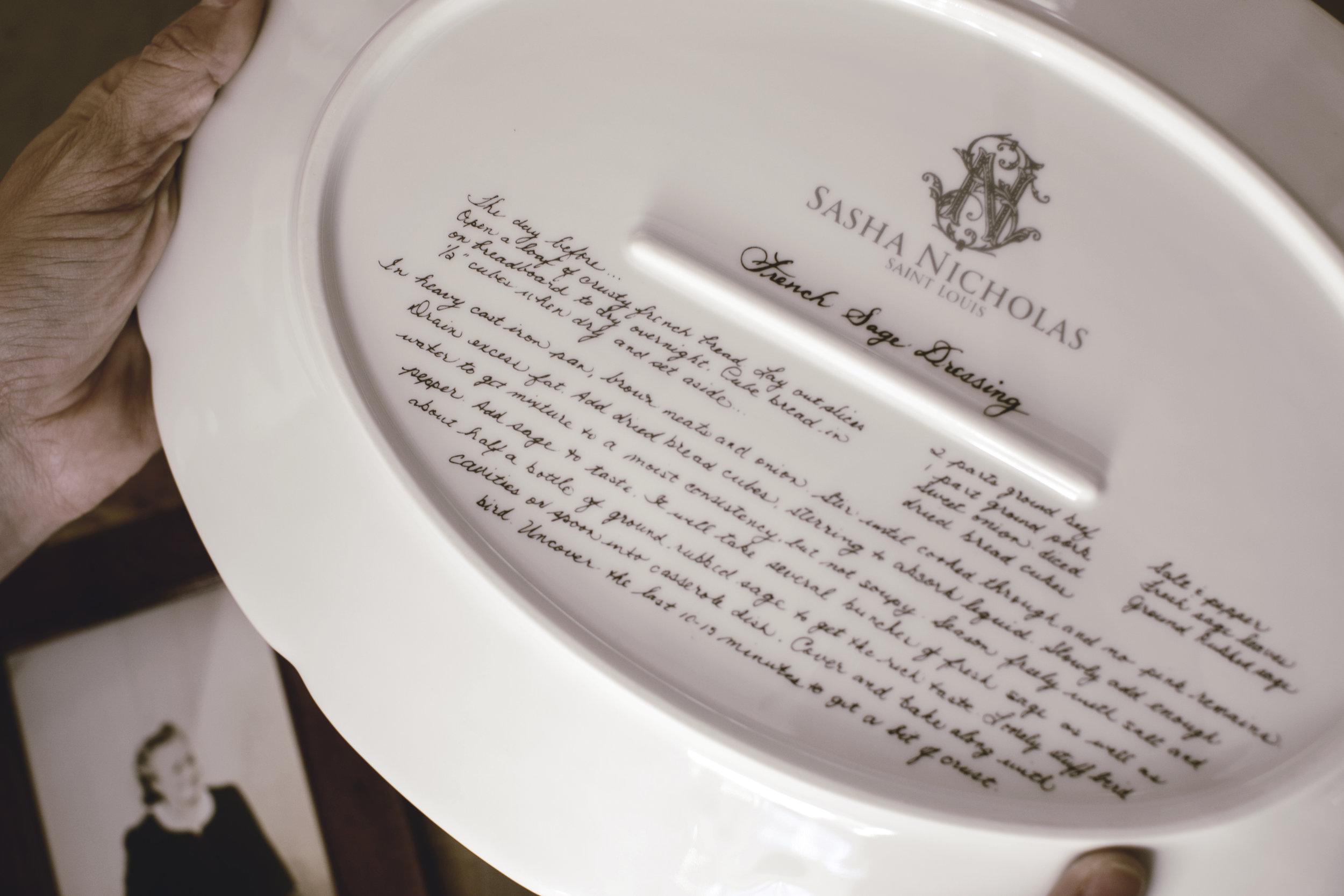 handwritten recipe printed on oval platter from Sasha Nicholas