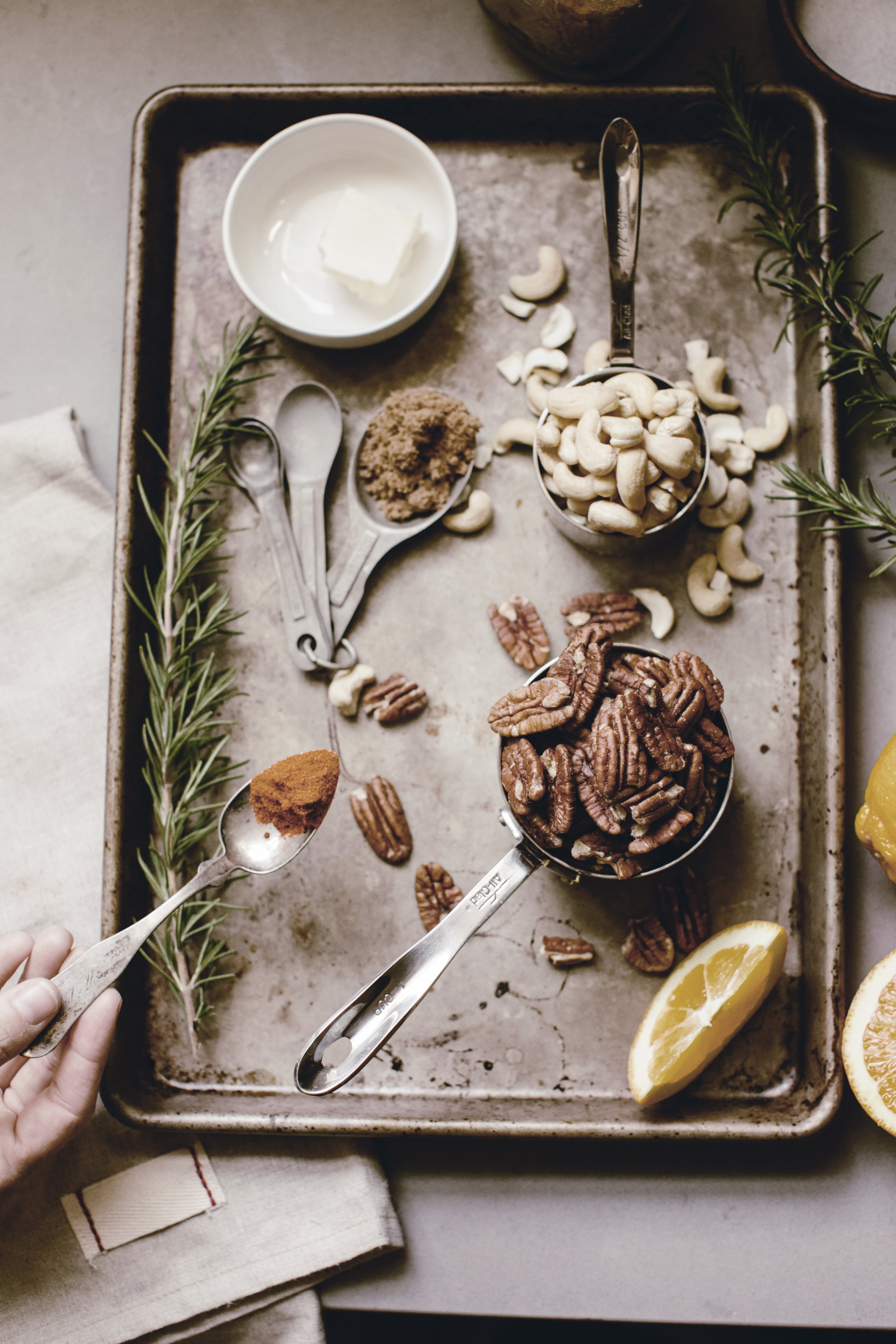 ingredients for spiced holiday nuts recipe / heirloomed