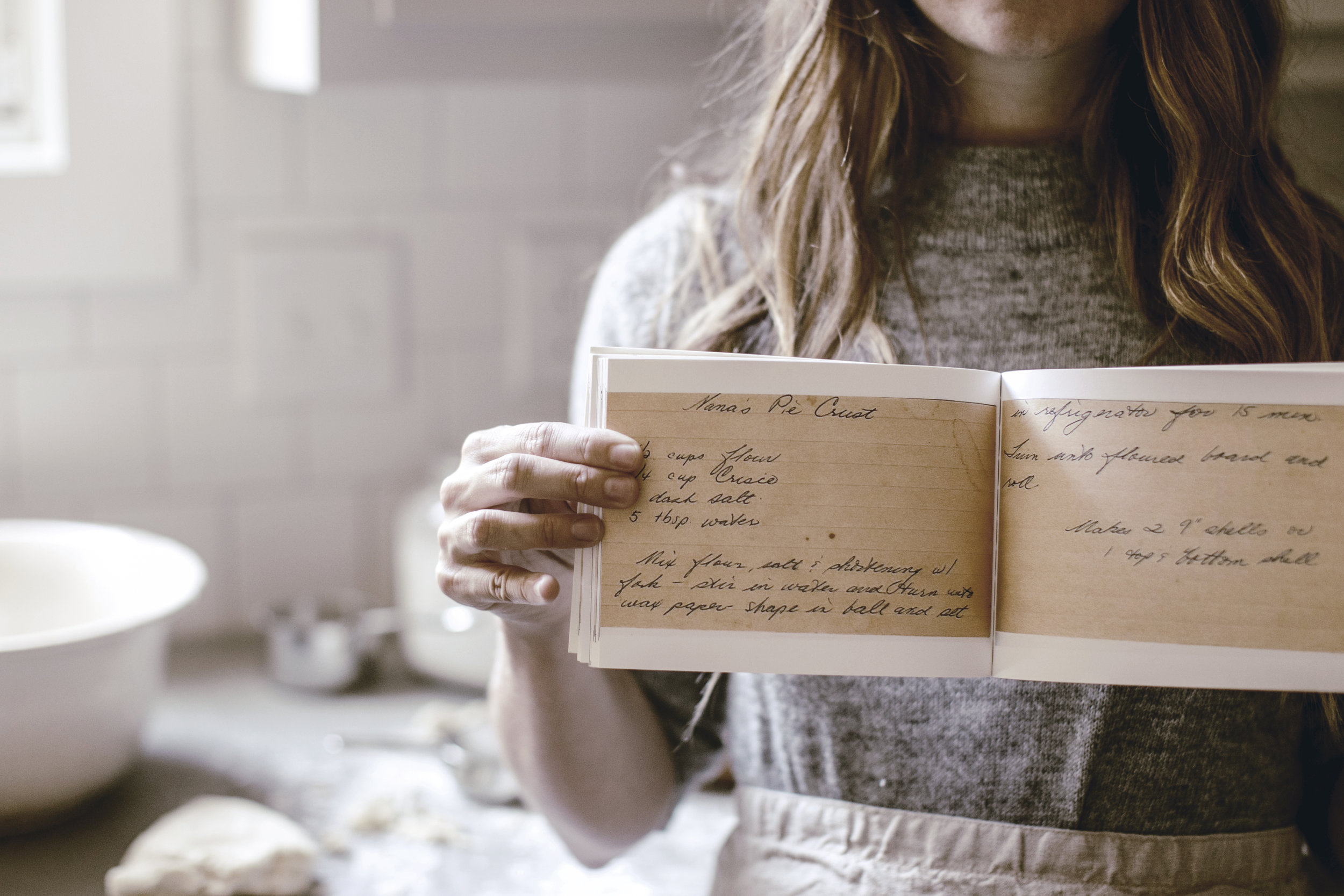Nana's Pie Crust Handwritten Recipe Card / DIY Recipe Book / heirloomed