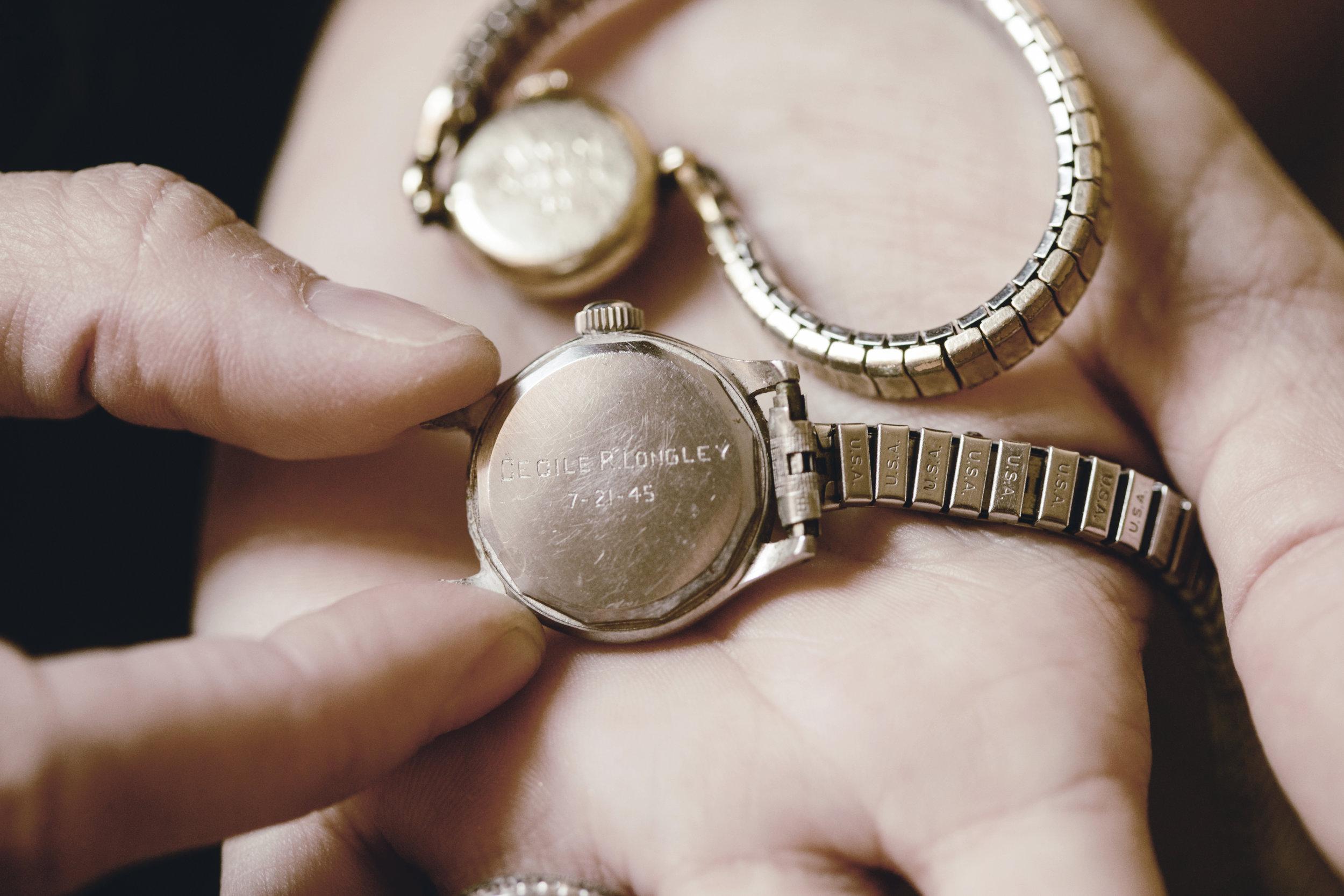 engraved vintage wrist watch / heirloomed style