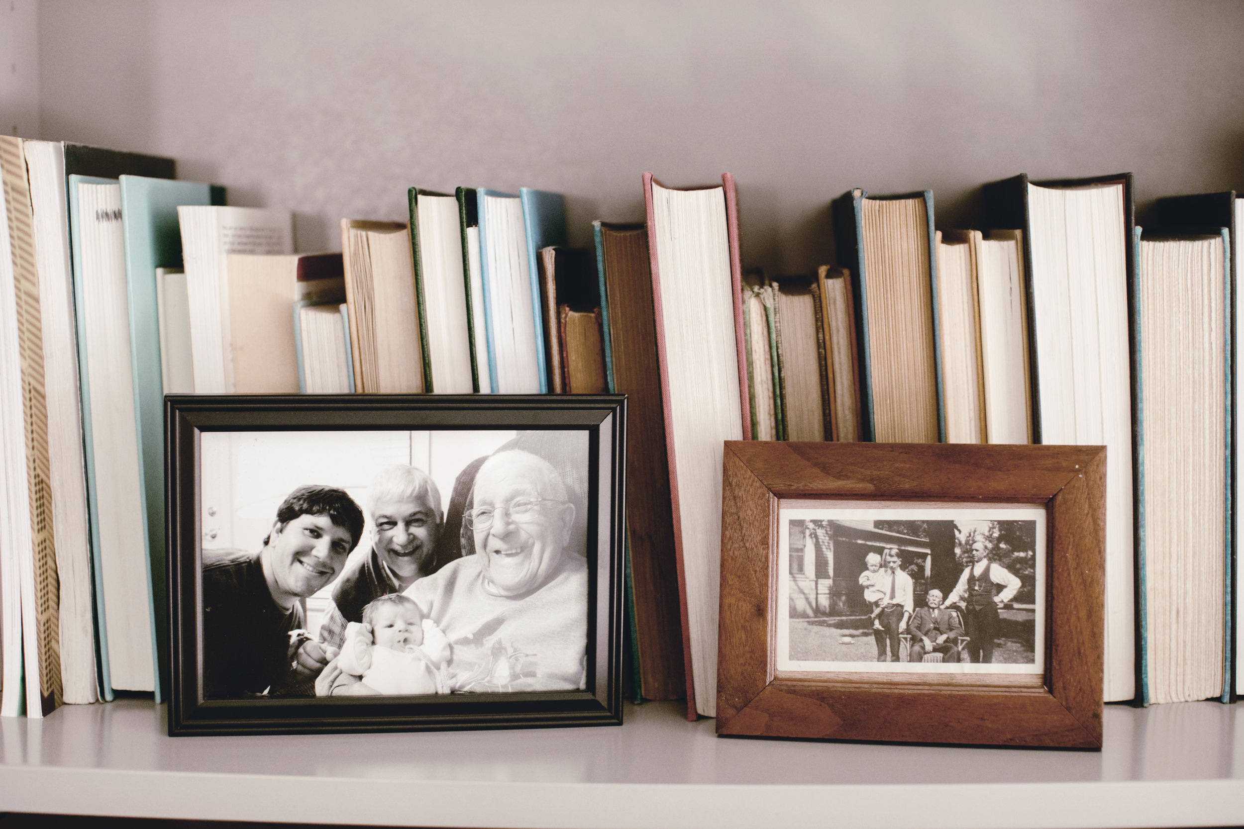 Four generations family photo / black and white / heirloomed