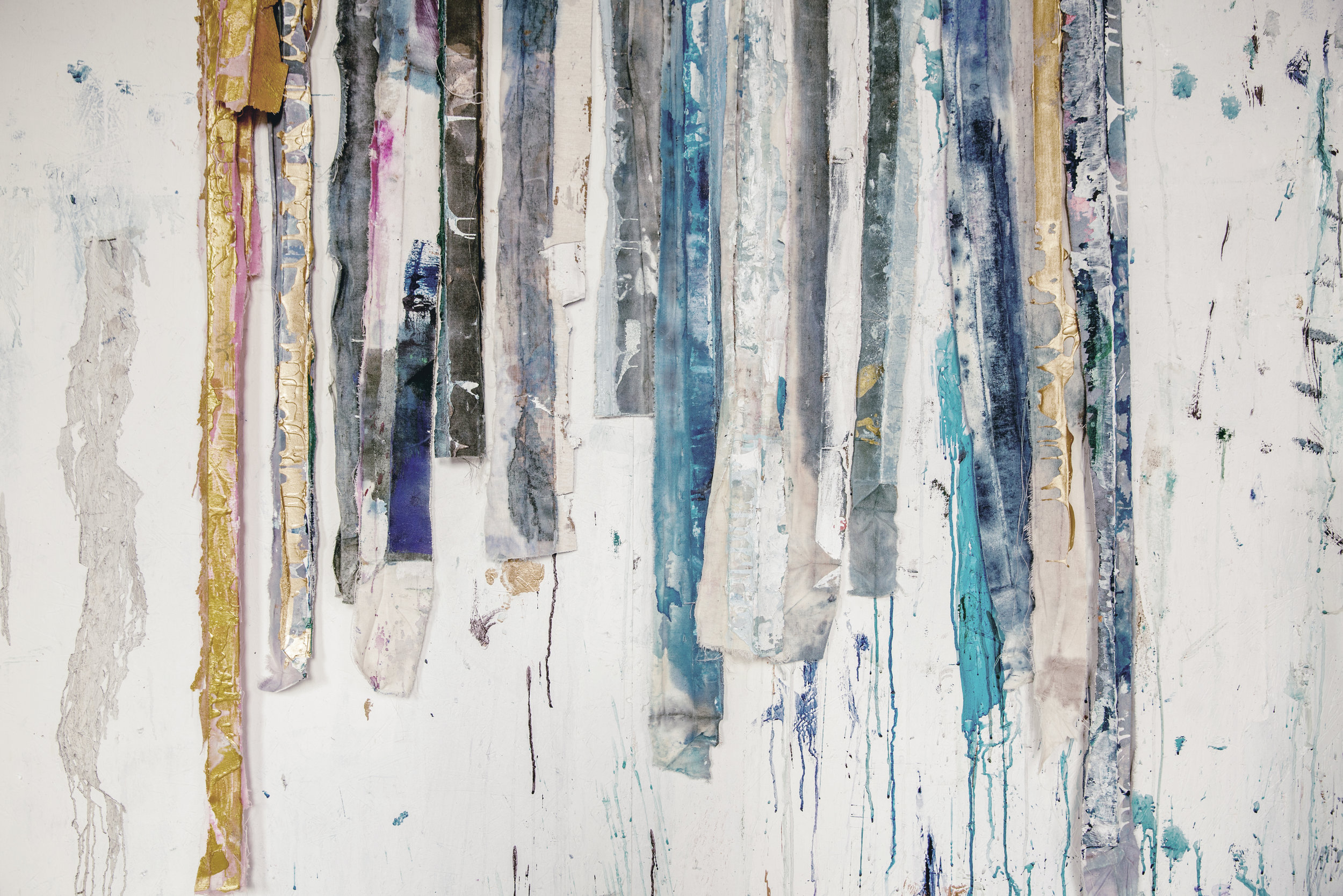strips of old paintined canvas by artist kiki salughter / heirloomed