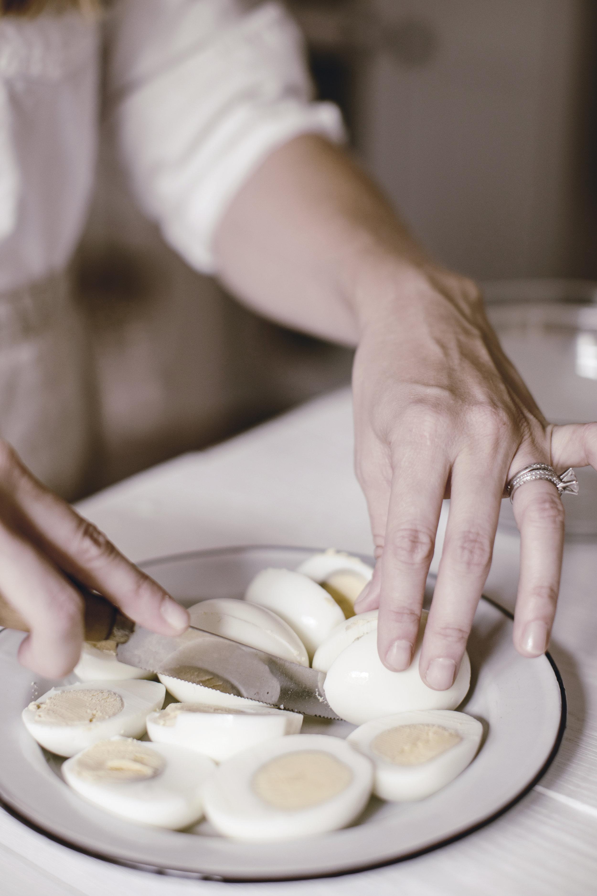 slicing Deviled Eggs / recipe / heirloomed