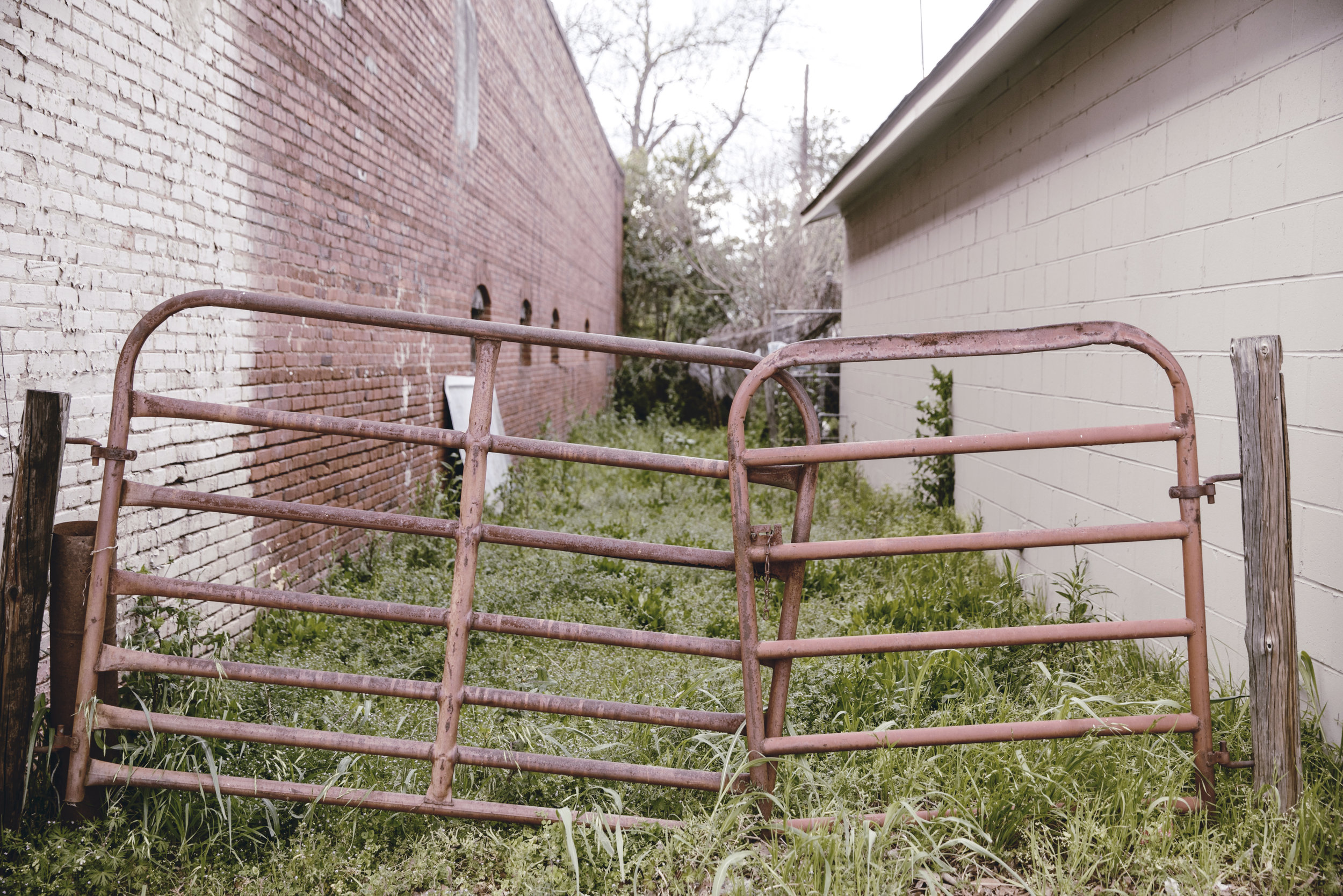 town square alley and metal gate in Monticello ga / heirloomed
