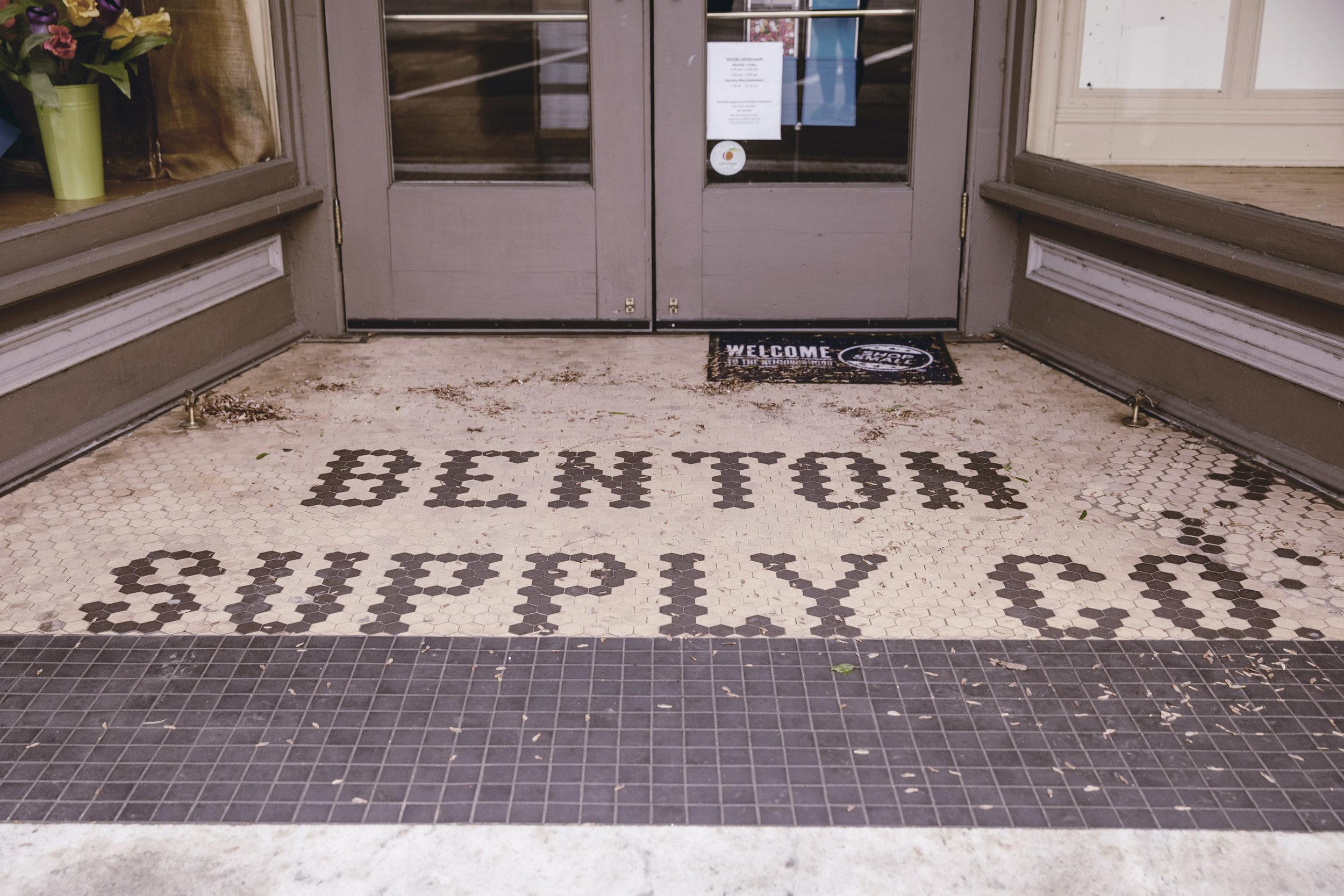 Benton Supply Co floor mosaic / historic storefront in Monticello GA / heirloomed